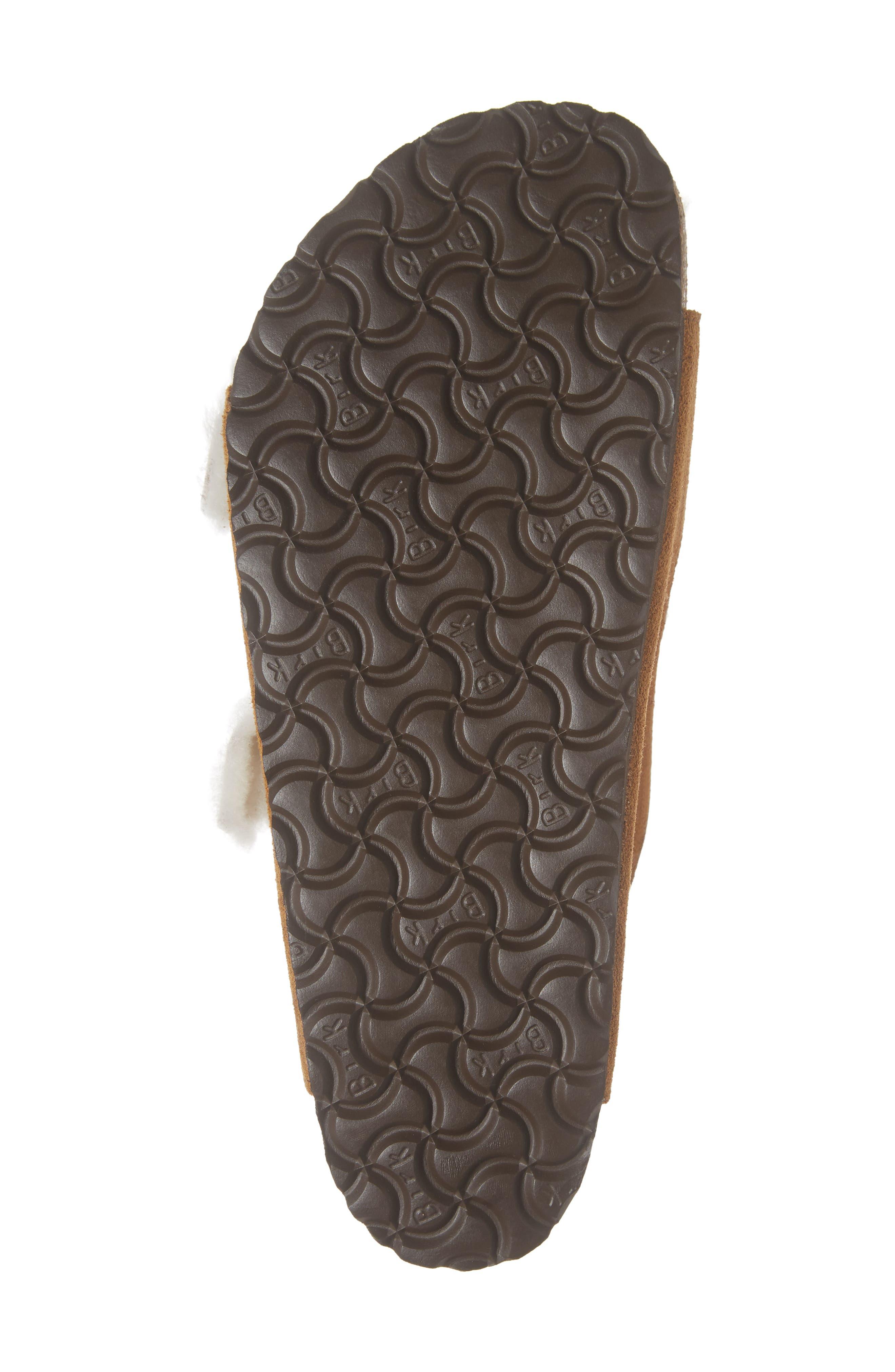 Arizona Slide Sandal with Genuine Shearling,                             Alternate thumbnail 6, color,                             BEIGE