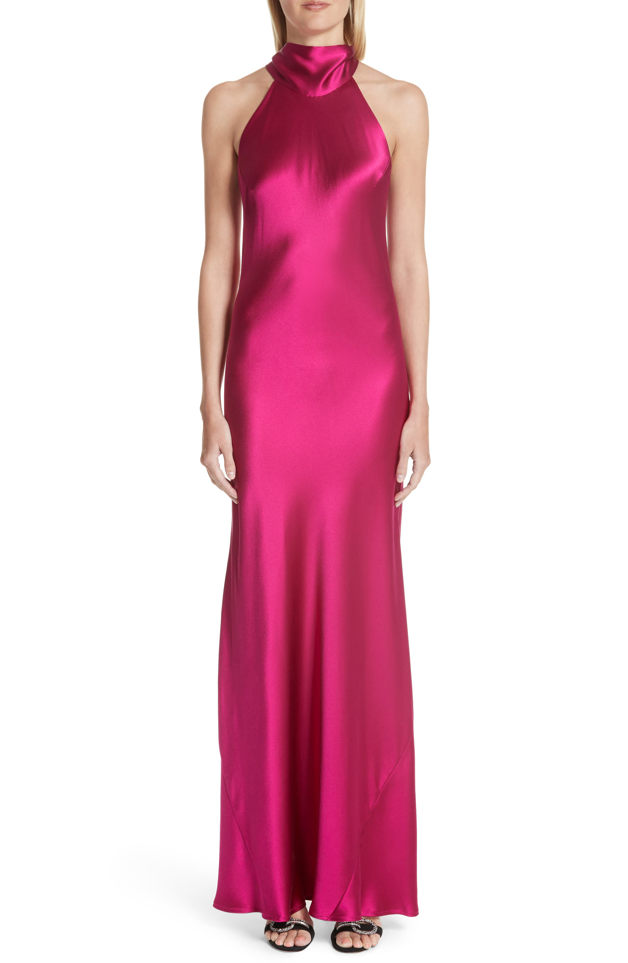 Silk Mock Neck Gown,                         Main,                         color, RASPBERRY
