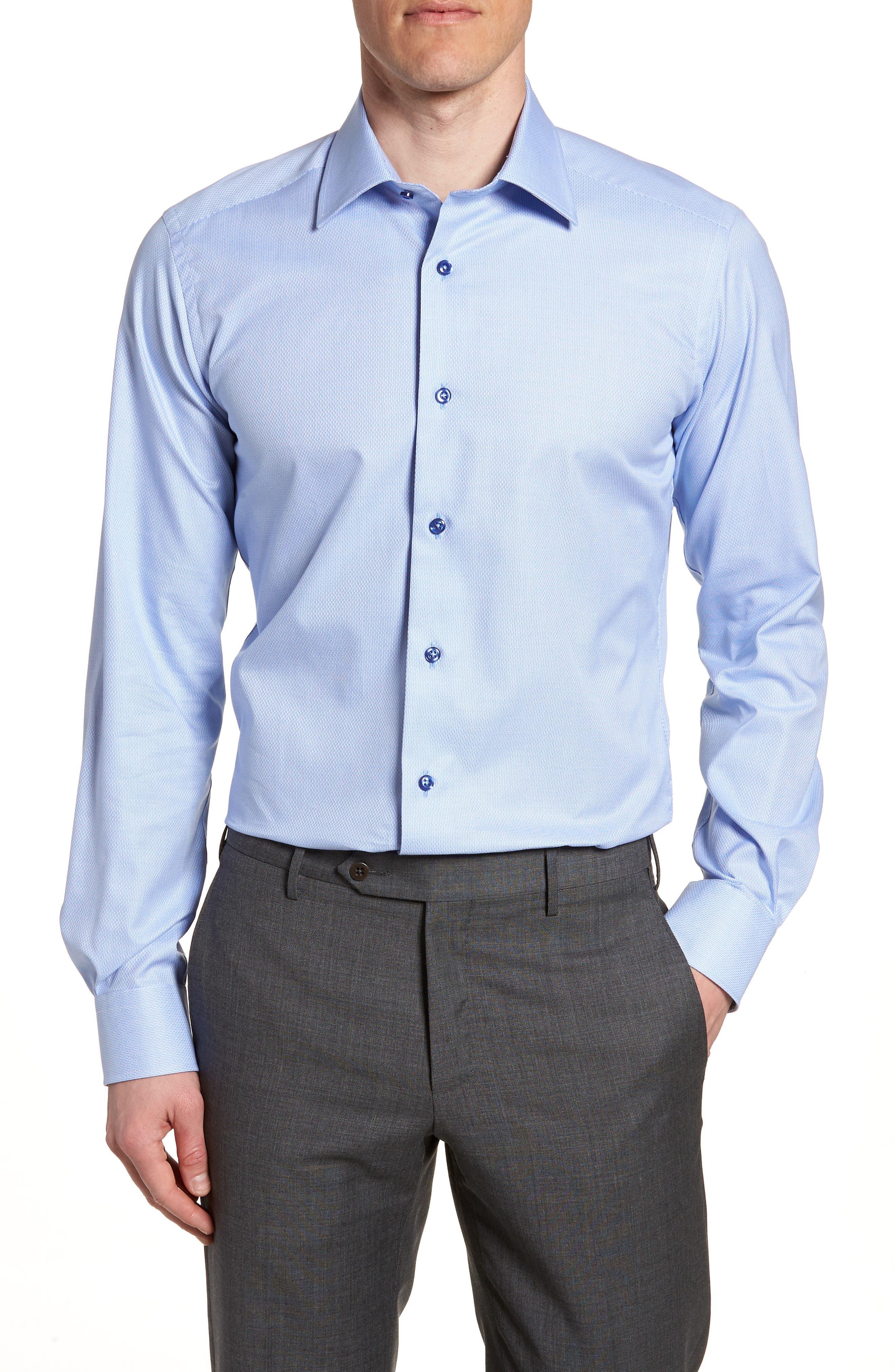 Trim Fit Solid Dress Shirt,                             Main thumbnail 1, color,