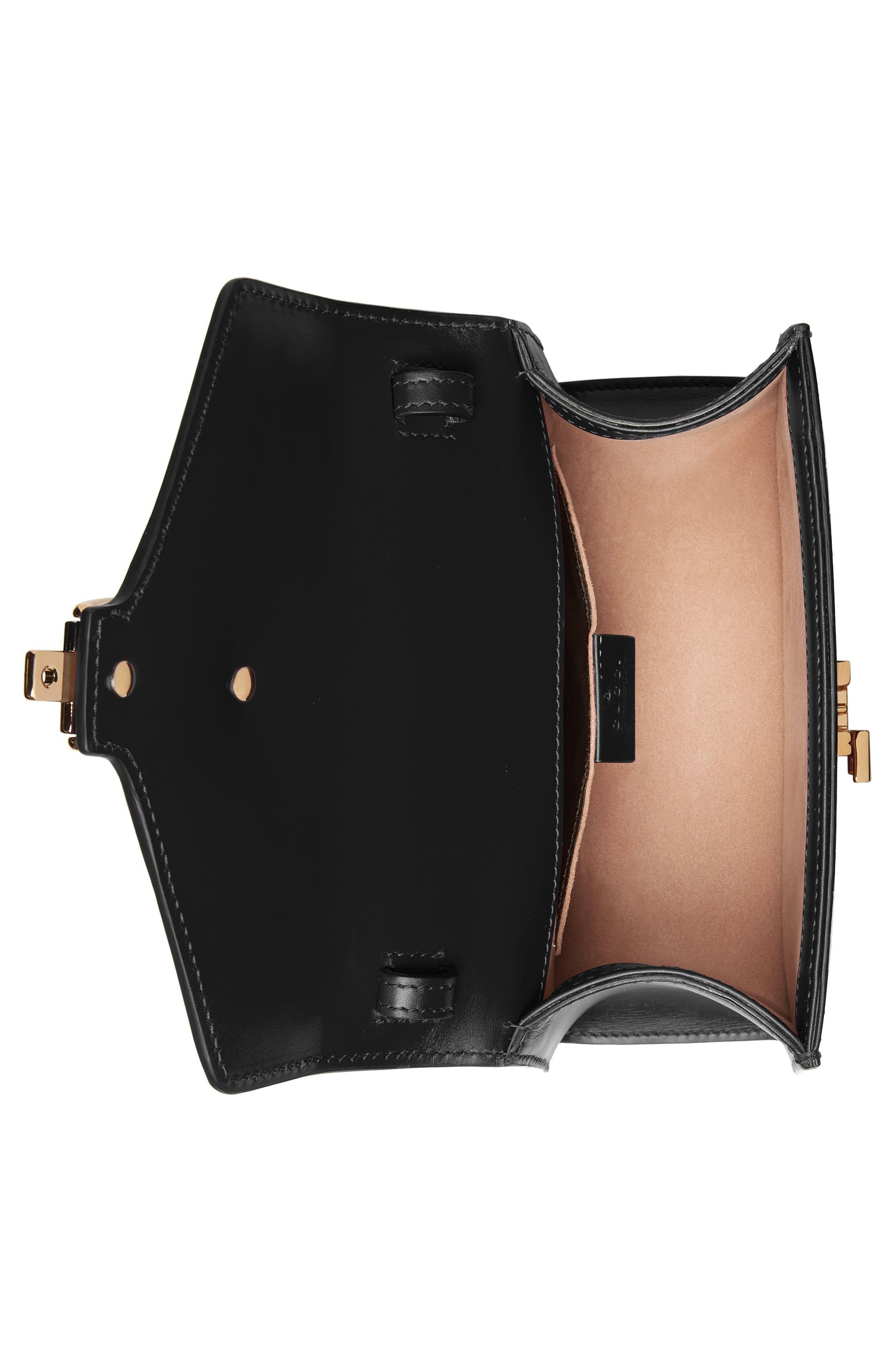 Mini Sylvie Top Handle Leather Shoulder Bag,                             Alternate thumbnail 4, color,                             8639 NERO/VRV