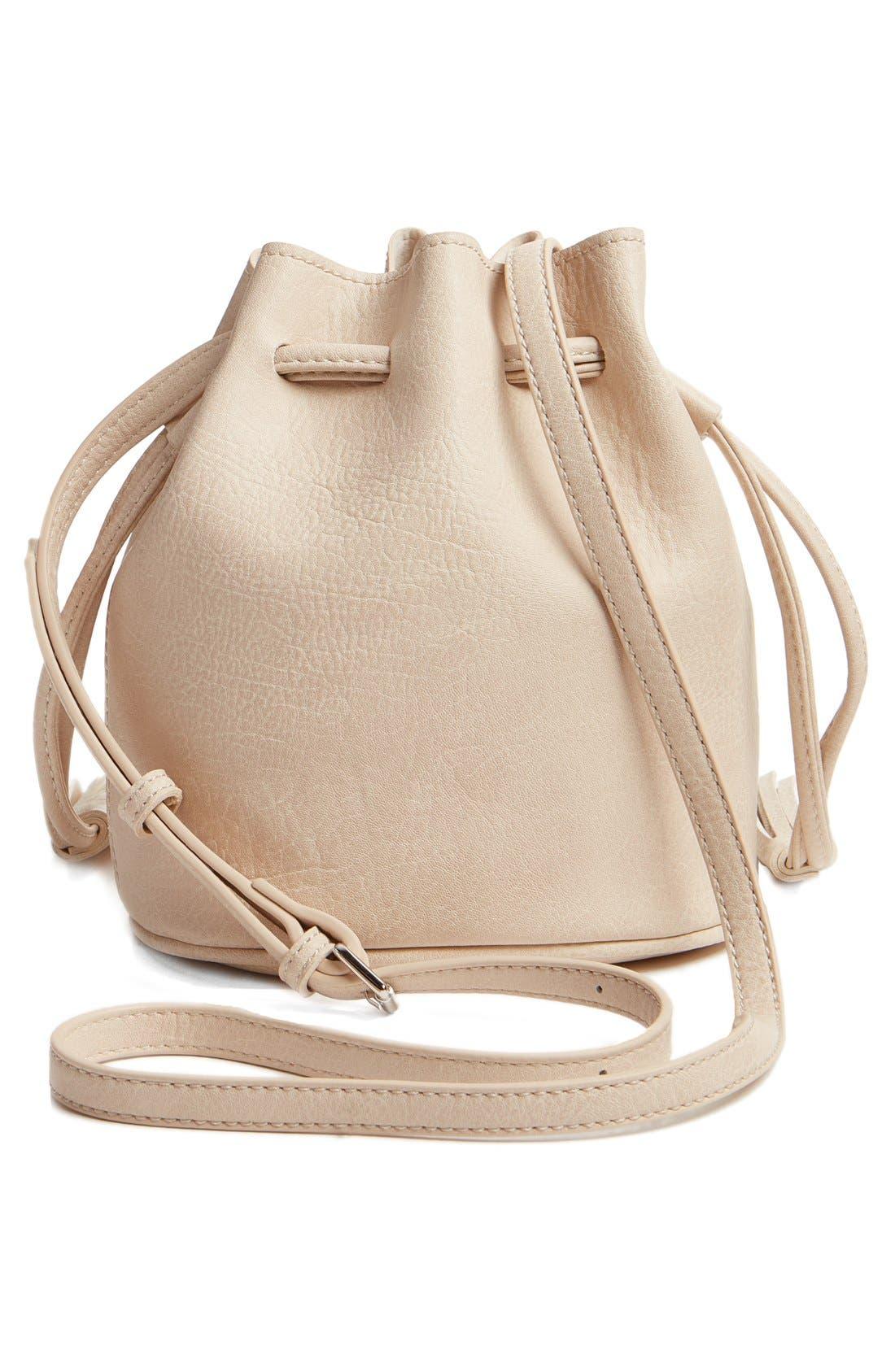 Mini Faux Leather Tassel Bucket Bag,                             Alternate thumbnail 17, color,