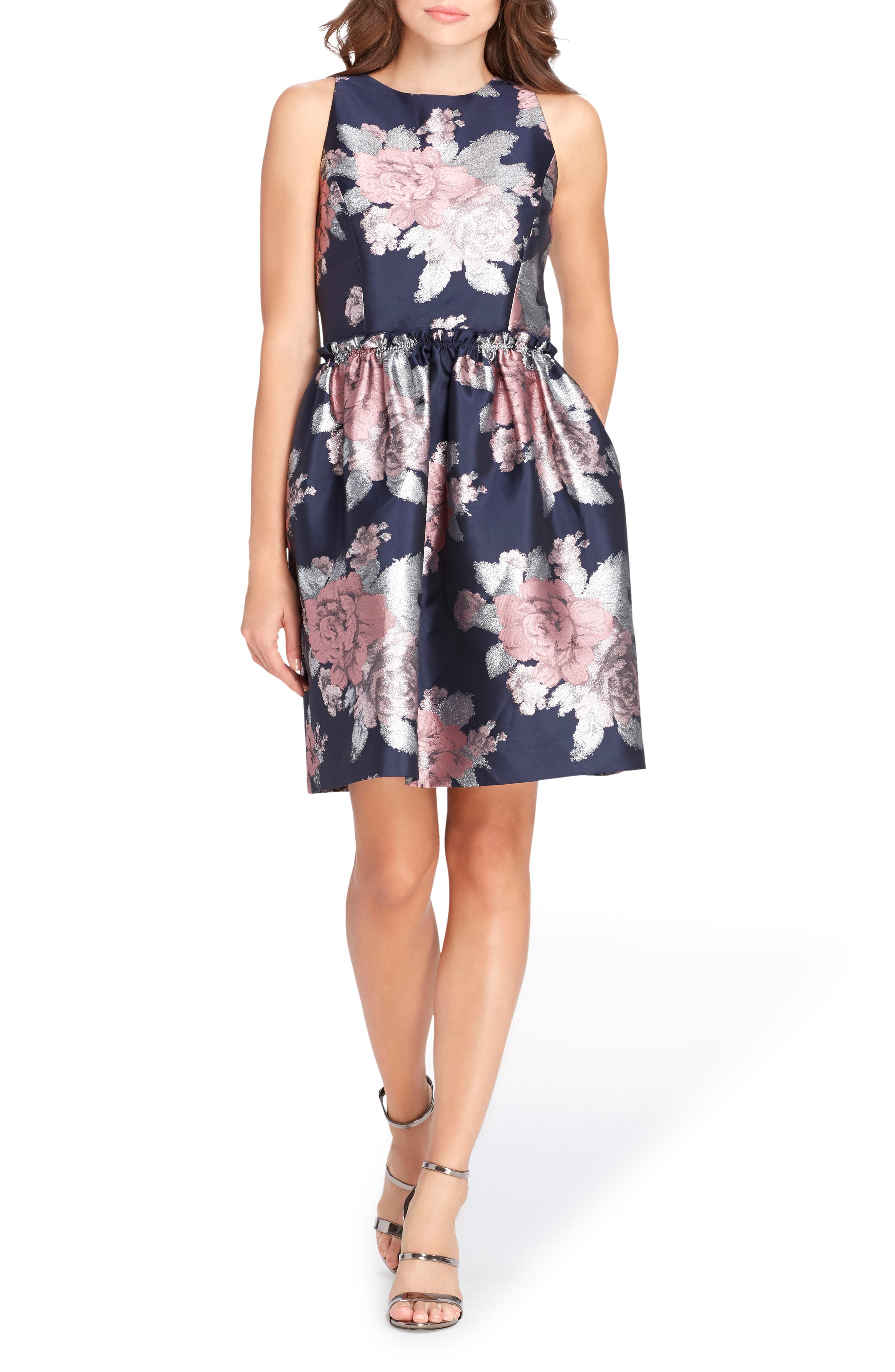 Jacquard Fit & Flare Dress,                         Main,                         color, 493