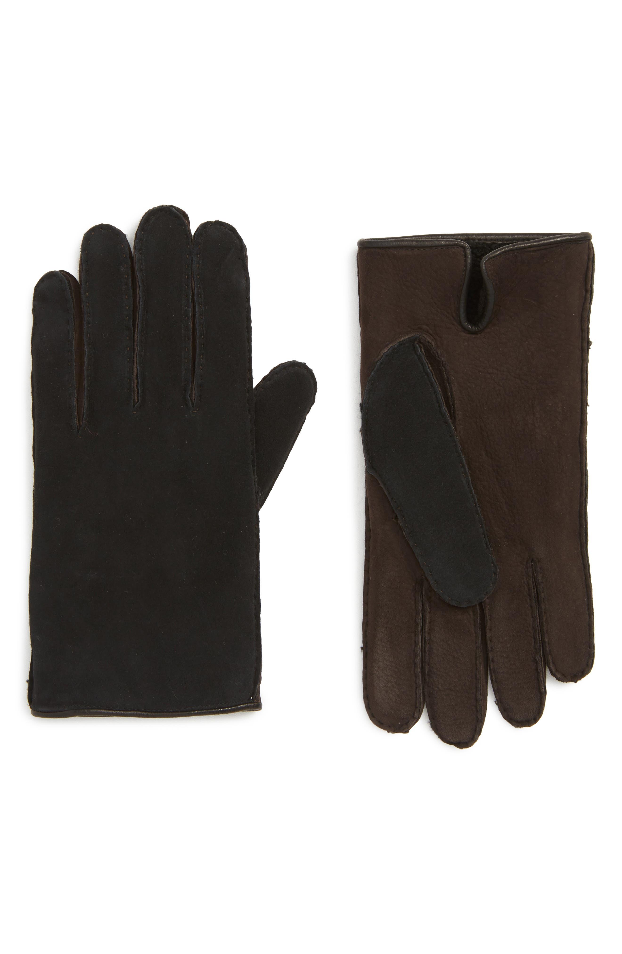 Leather Gloves,                         Main,                         color, BLACK/ BROWN
