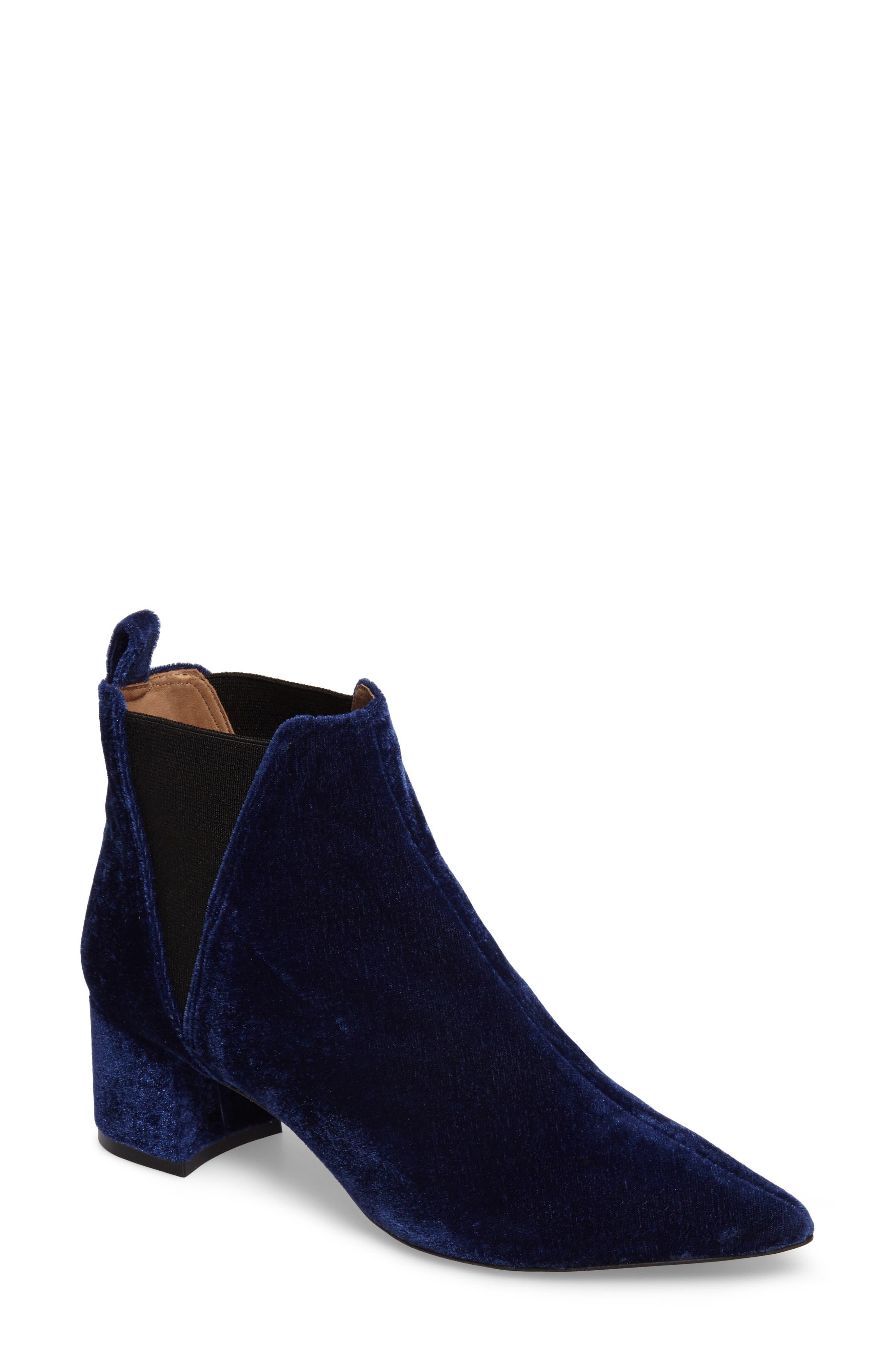 Renita Pointy Toe Chelsea Bootie,                         Main,                         color, BLUE VELVET FABRIC