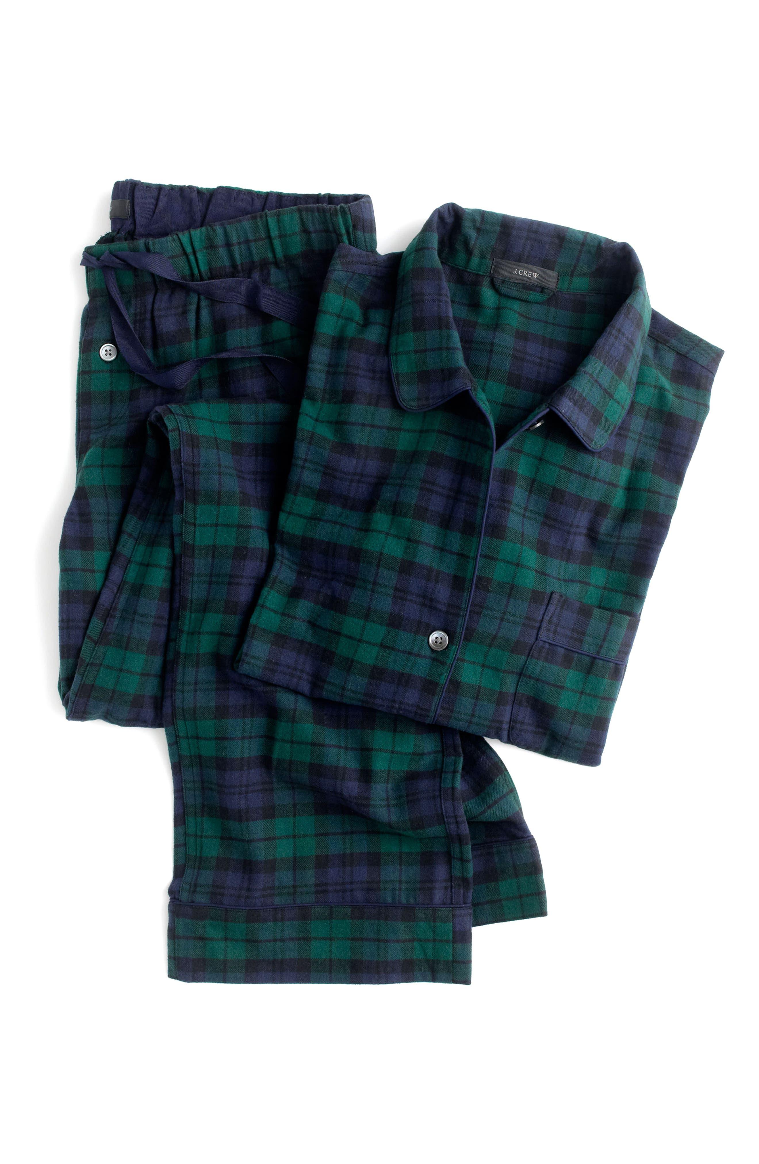 J.CREW,                             Blackwatch Flannel Pajamas,                             Alternate thumbnail 4, color,                             001