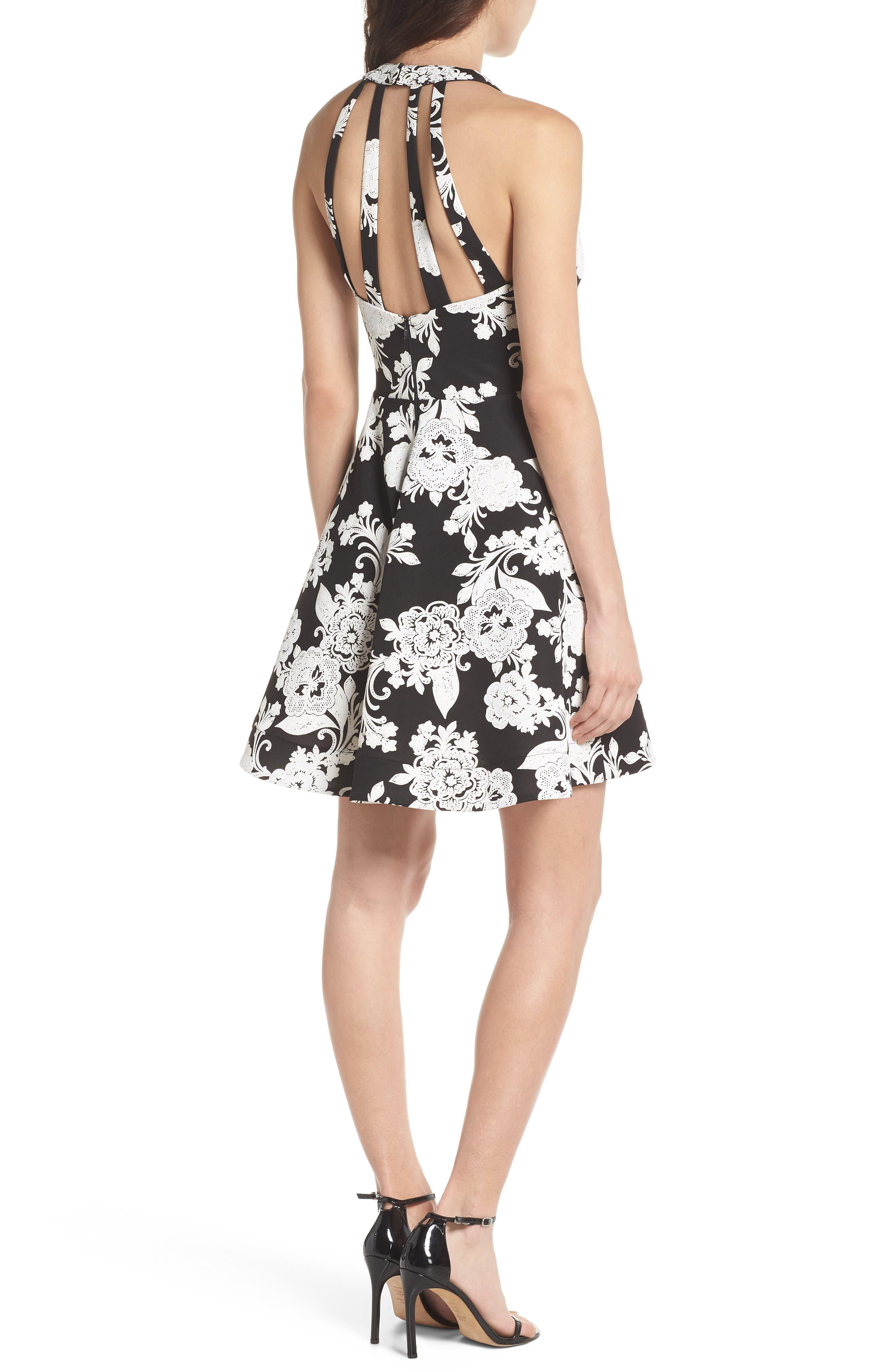 Strappy Back Scuba Halter Dress,                             Alternate thumbnail 2, color,                             BLACK/ CREAM