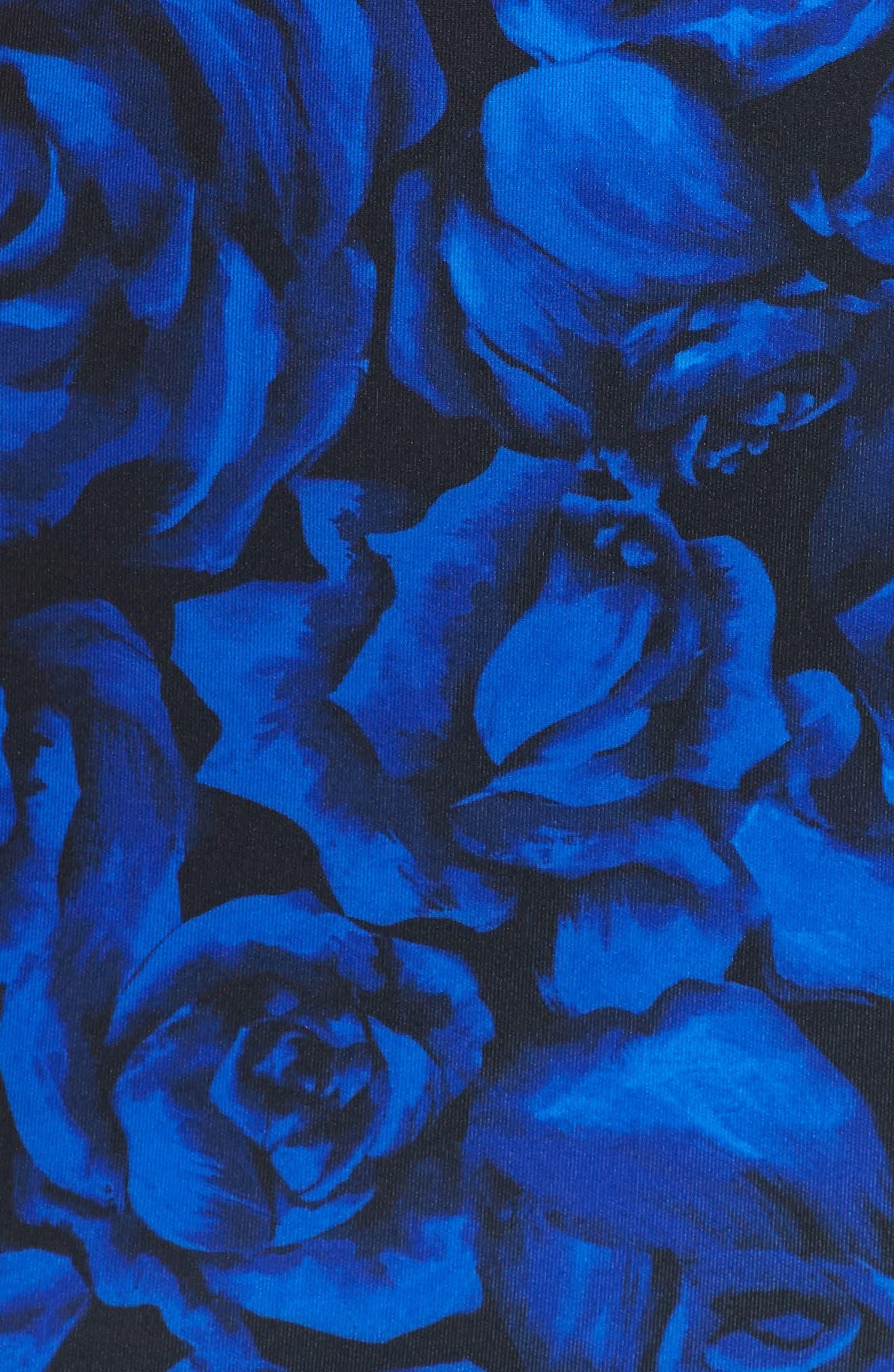 Floral Print Body-Con Dress,                             Alternate thumbnail 5, color,                             ROYAL/ BLACK