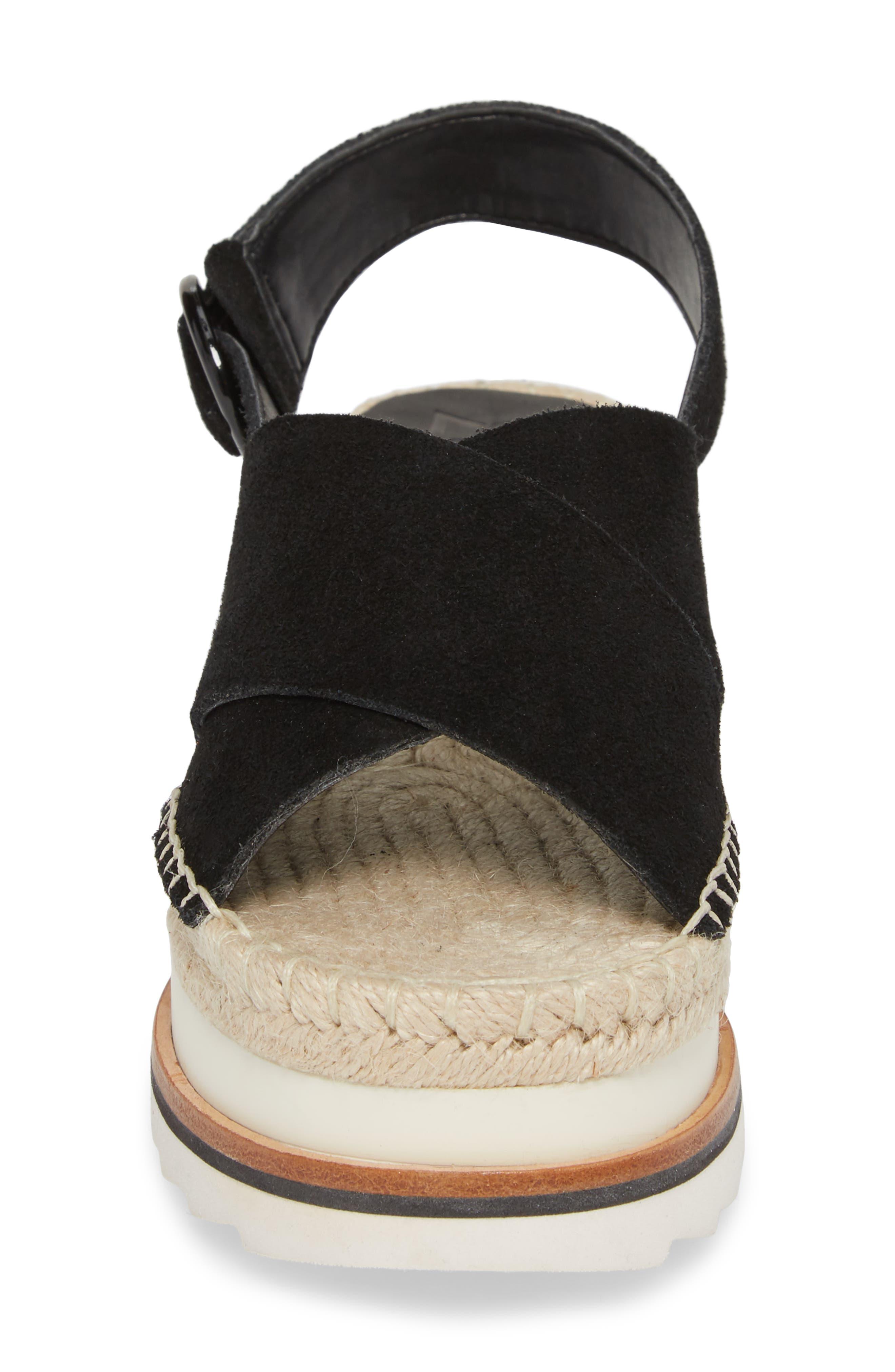 Glenna Platform Slingback Sandal,                             Alternate thumbnail 4, color,                             BLACK SUEDE