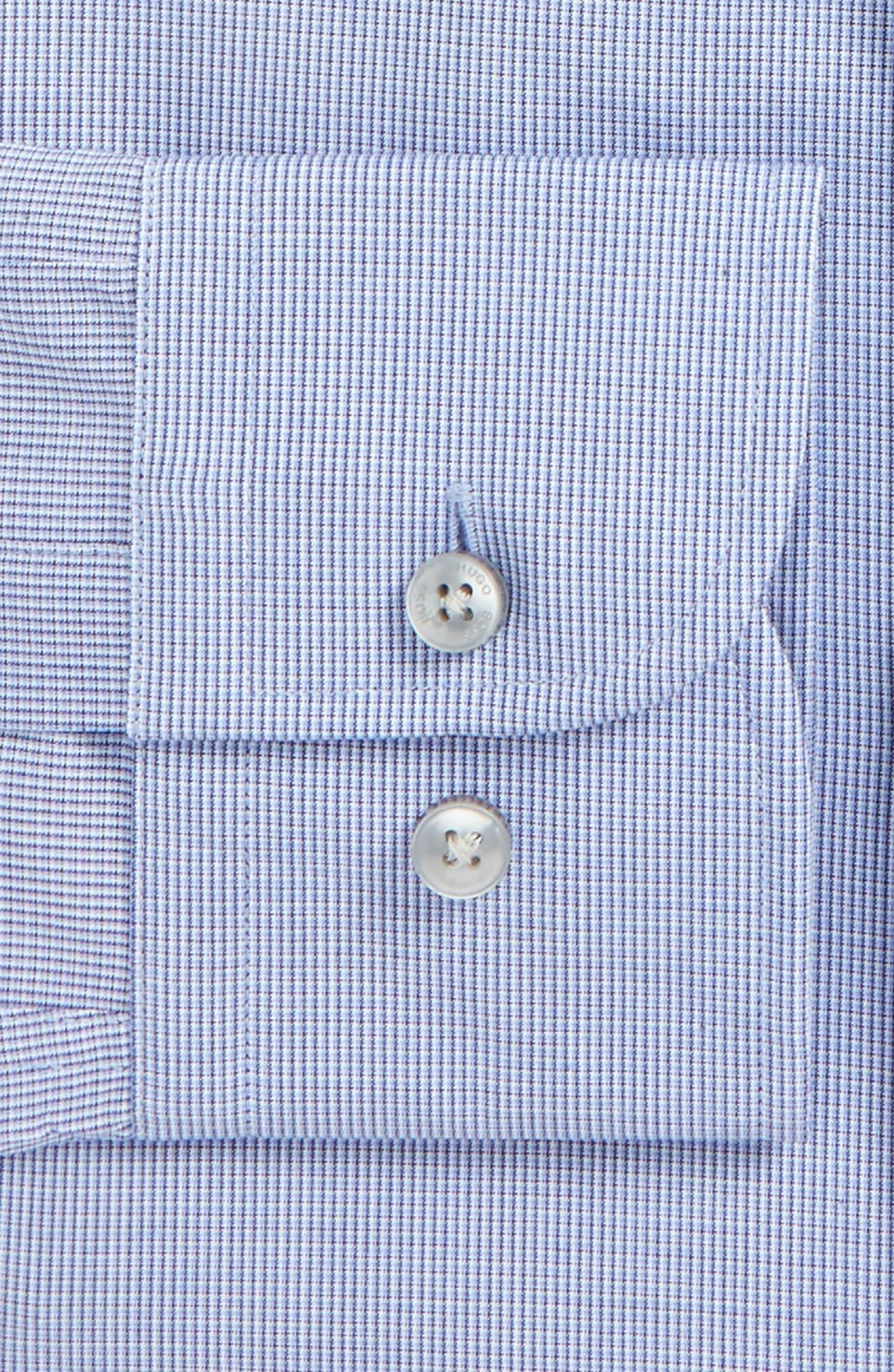 Jerris Slim Fit Easy Iron Check Dress Shirt,                             Alternate thumbnail 4, color,                             NAVY