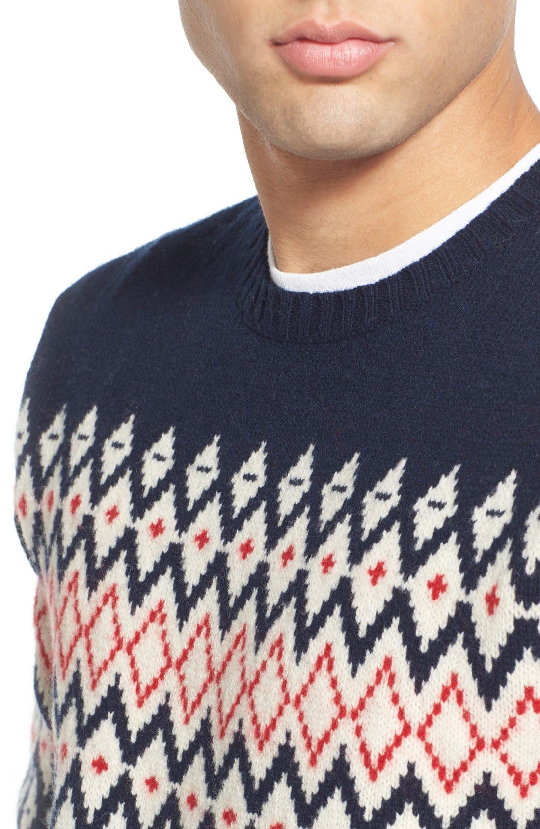 Lambswool Fair Isle Crewneck Sweater,                             Alternate thumbnail 5, color,