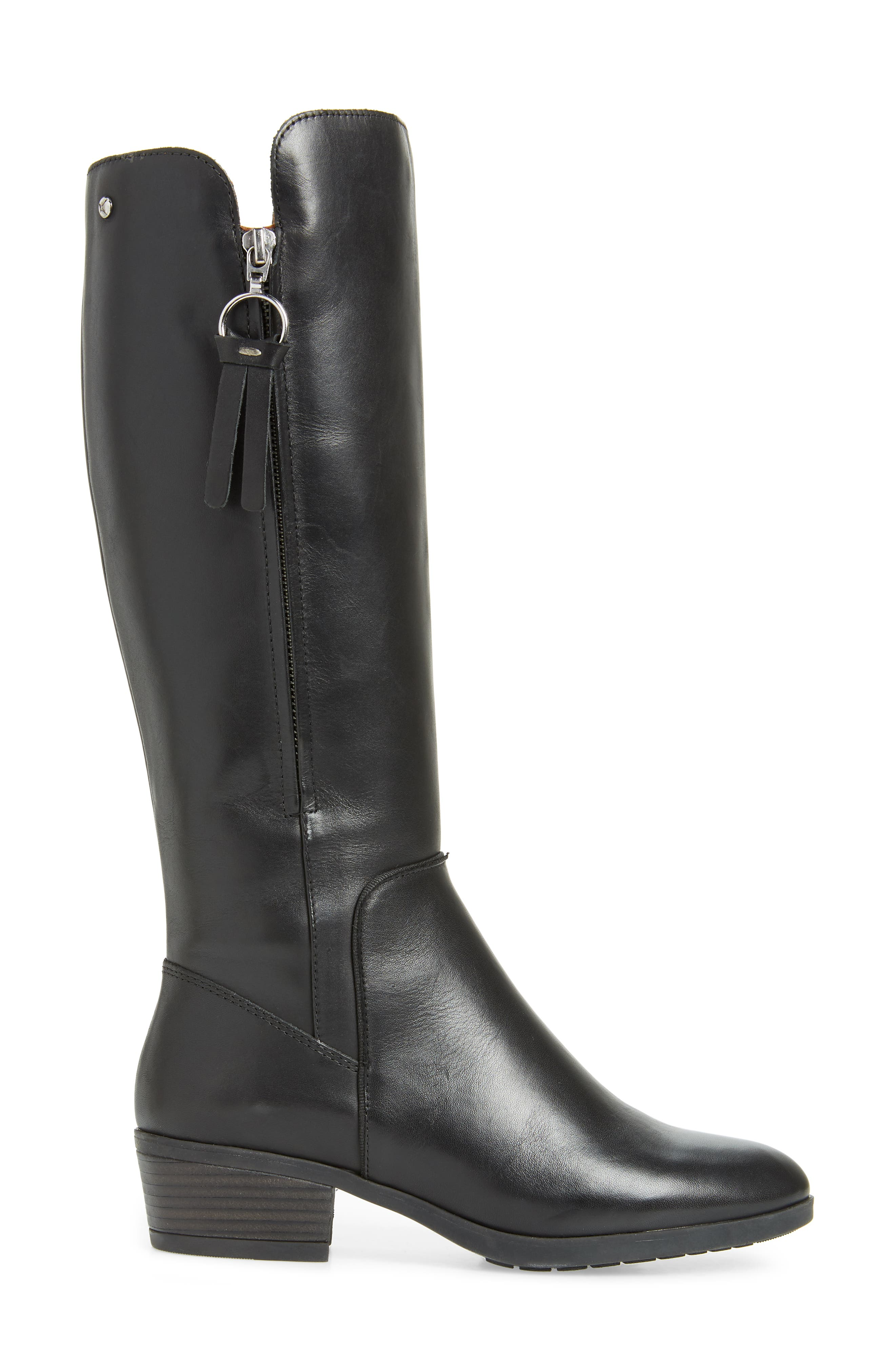 Daroca Knee High Boot,                             Alternate thumbnail 3, color,                             BLACK LEATHER