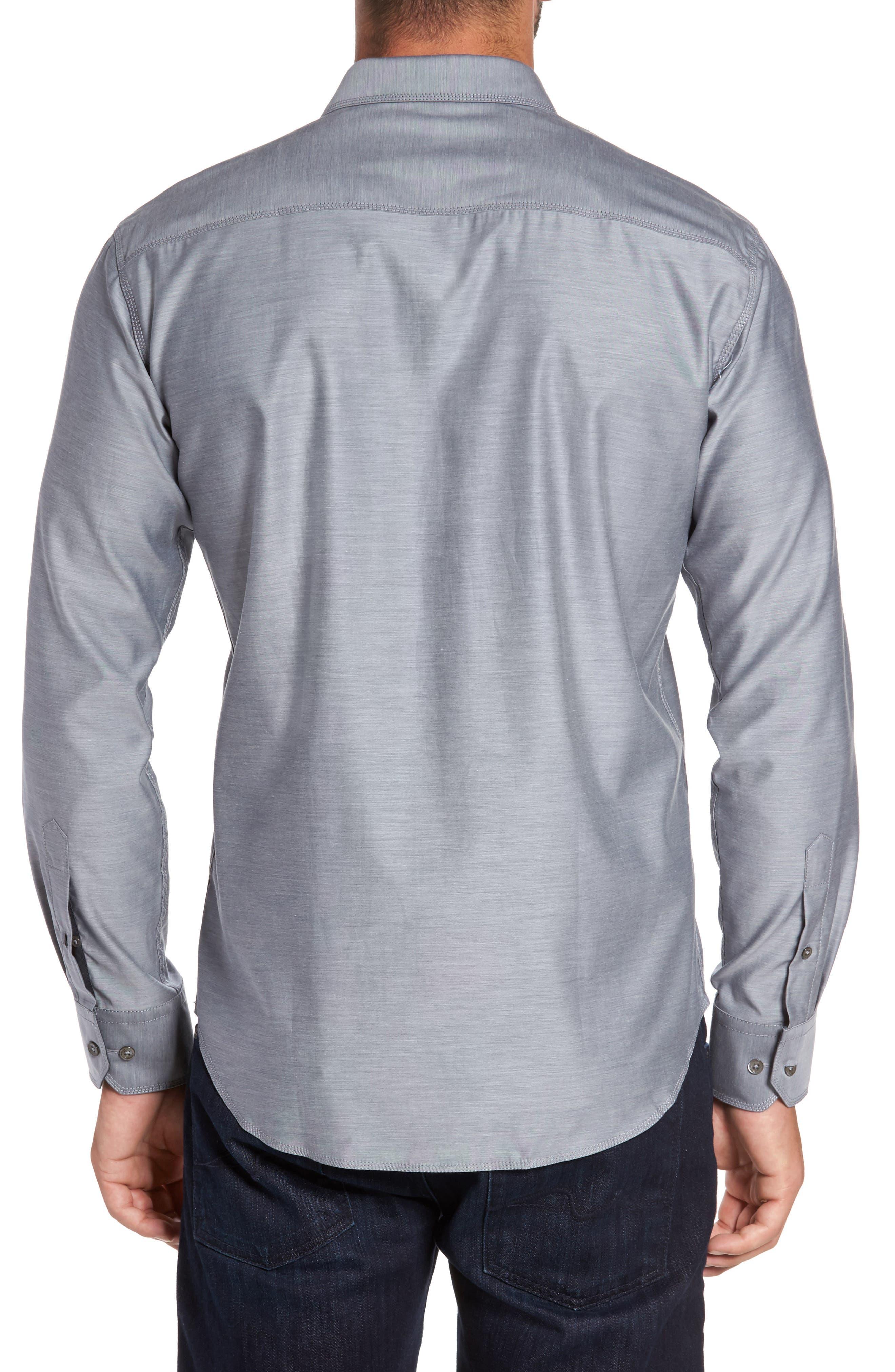 Trim Fit Heathered Sport Shirt,                             Alternate thumbnail 5, color,