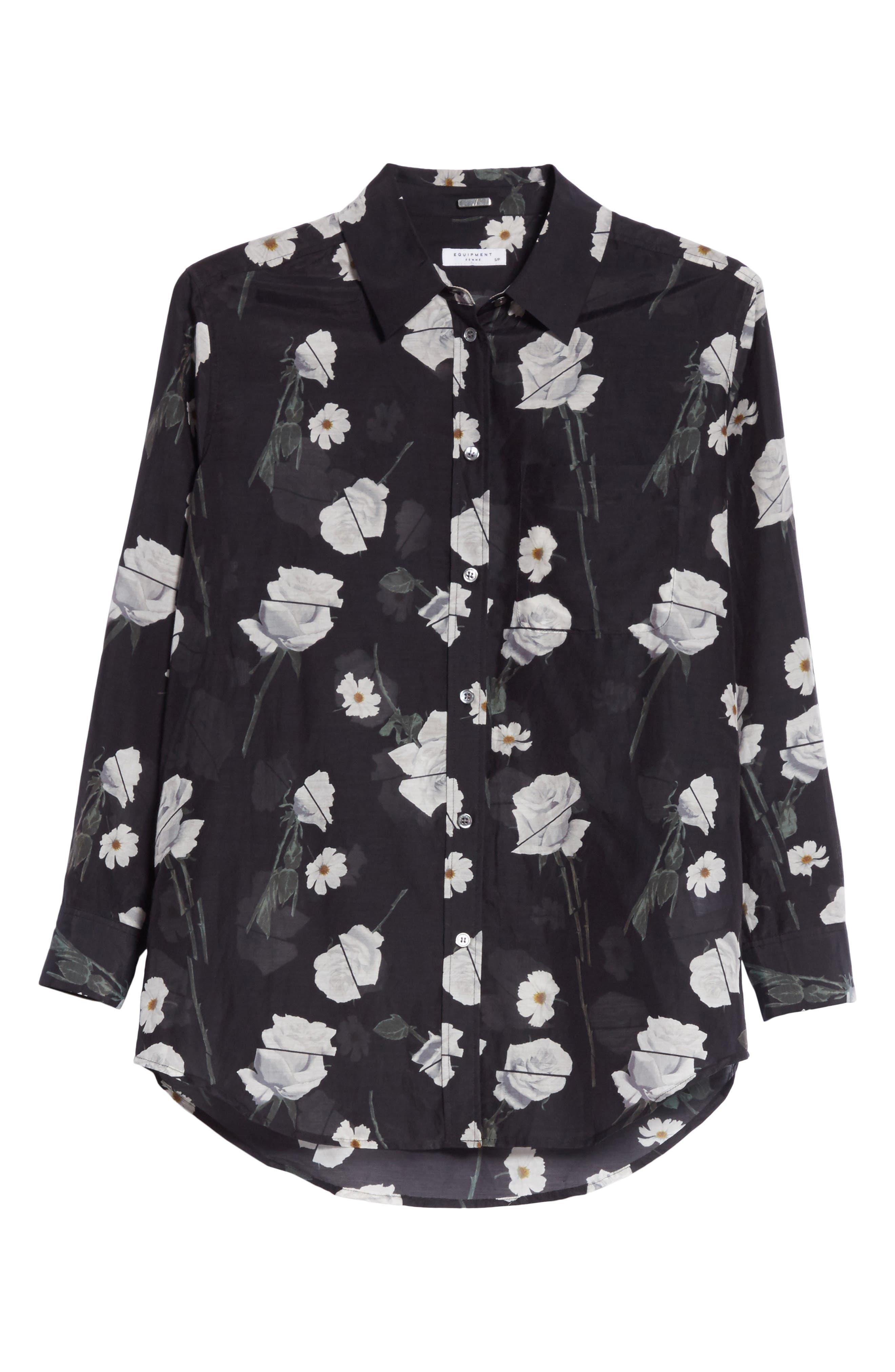 Daddy Floral Cotton & Silk Shirt,                             Alternate thumbnail 6, color,                             006