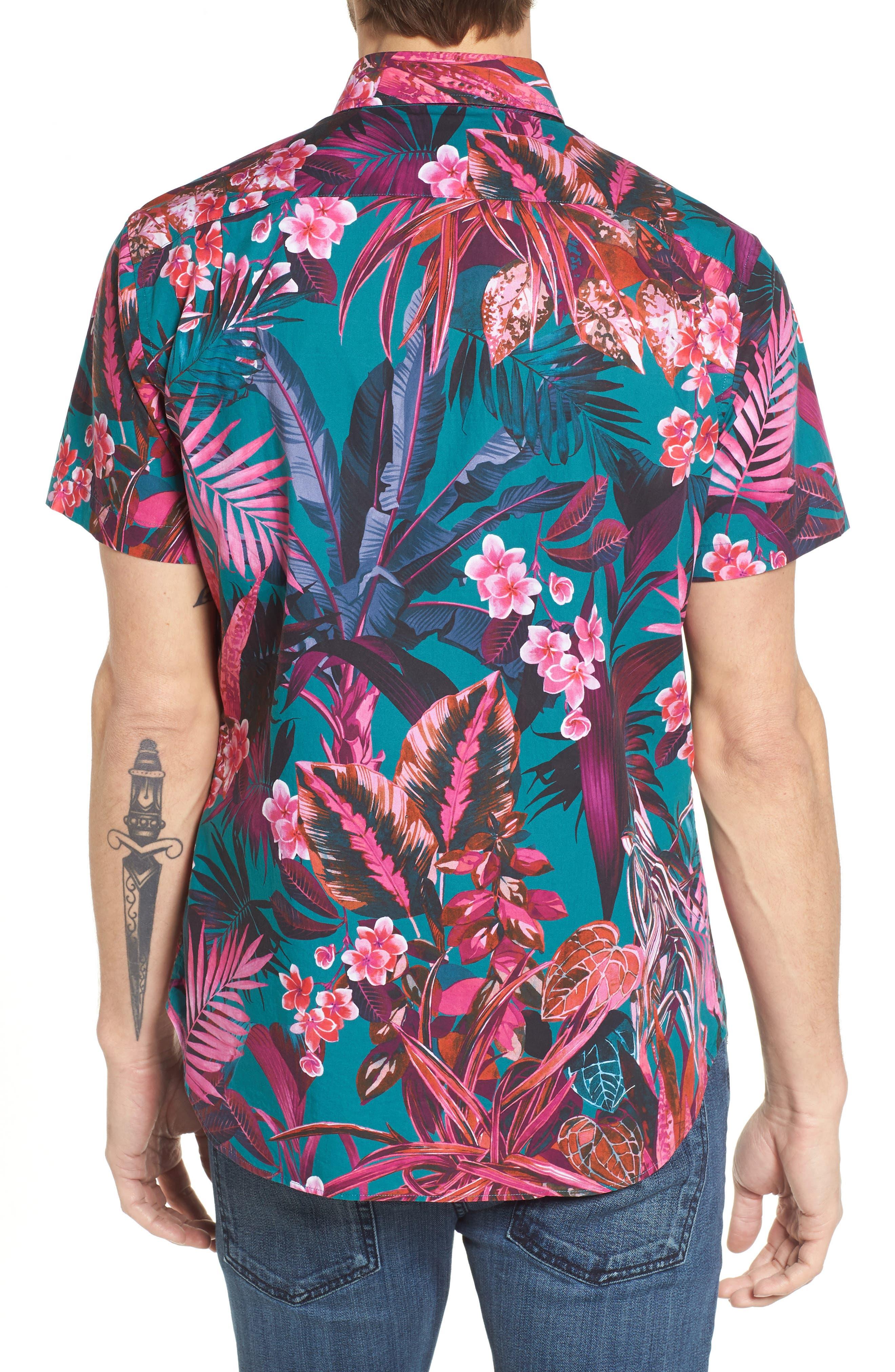 Premium Slim Fit Short Sleeve Print Sport Shirt,                             Alternate thumbnail 2, color,