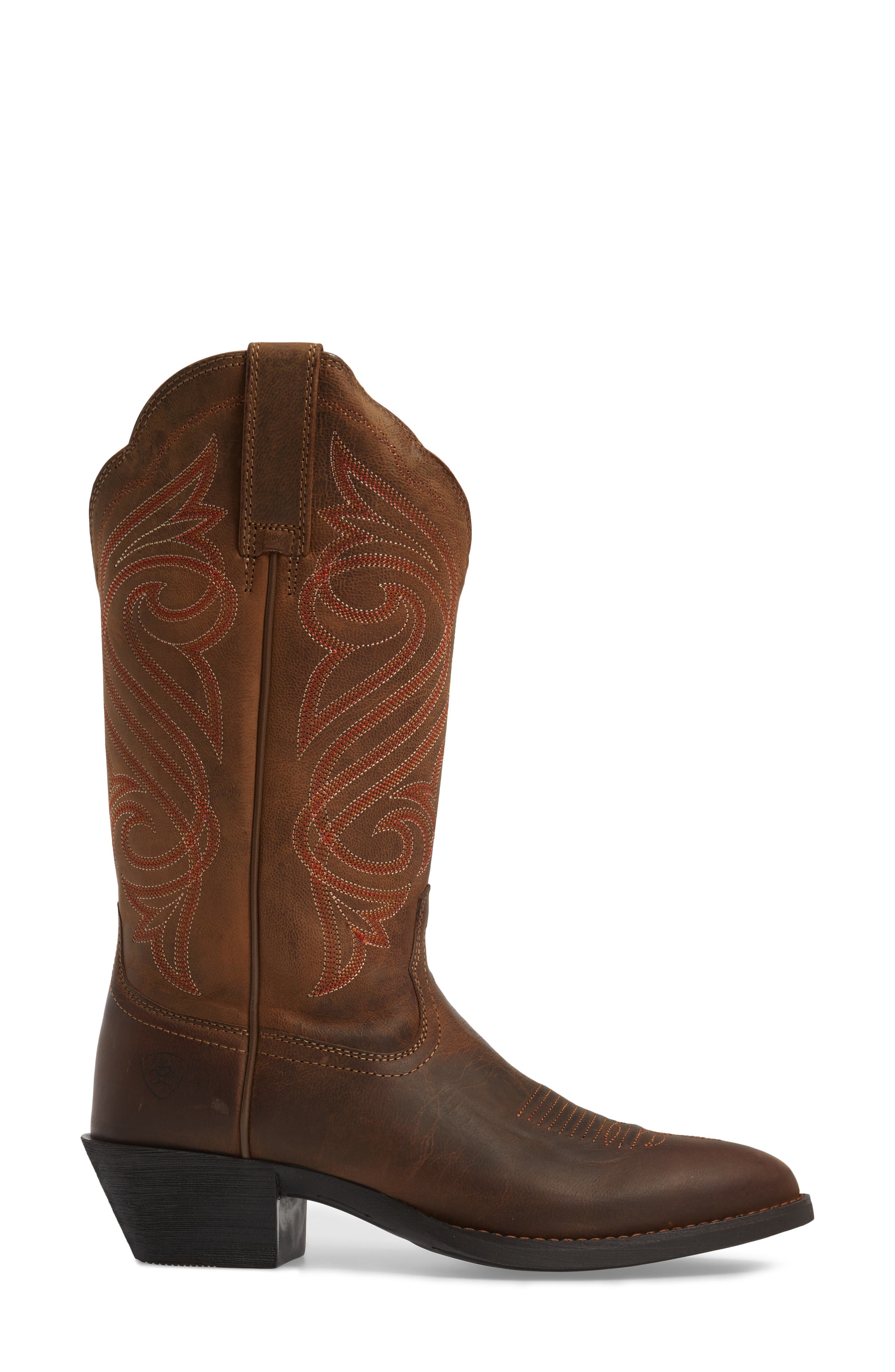 Round Up R-Toe Western Boot,                             Alternate thumbnail 3, color,                             DARK TOFFEE LEATHER