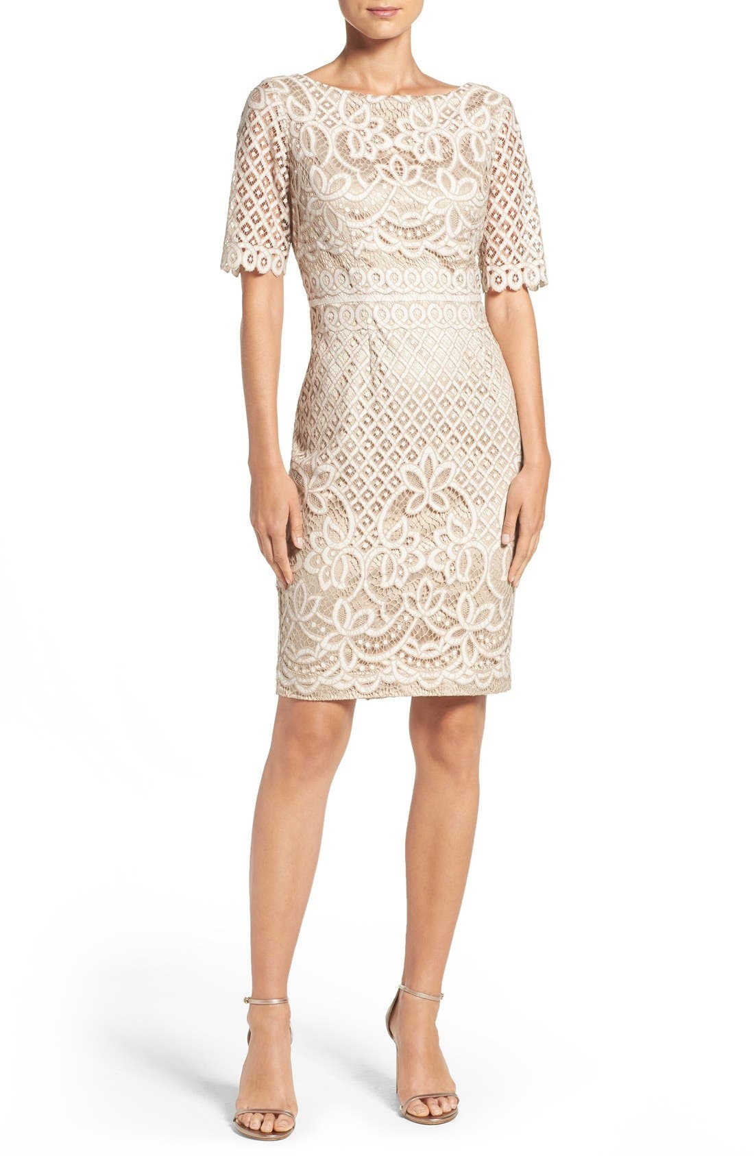 Lace Sheath Dress,                             Alternate thumbnail 4, color,                             IVORY NUDE