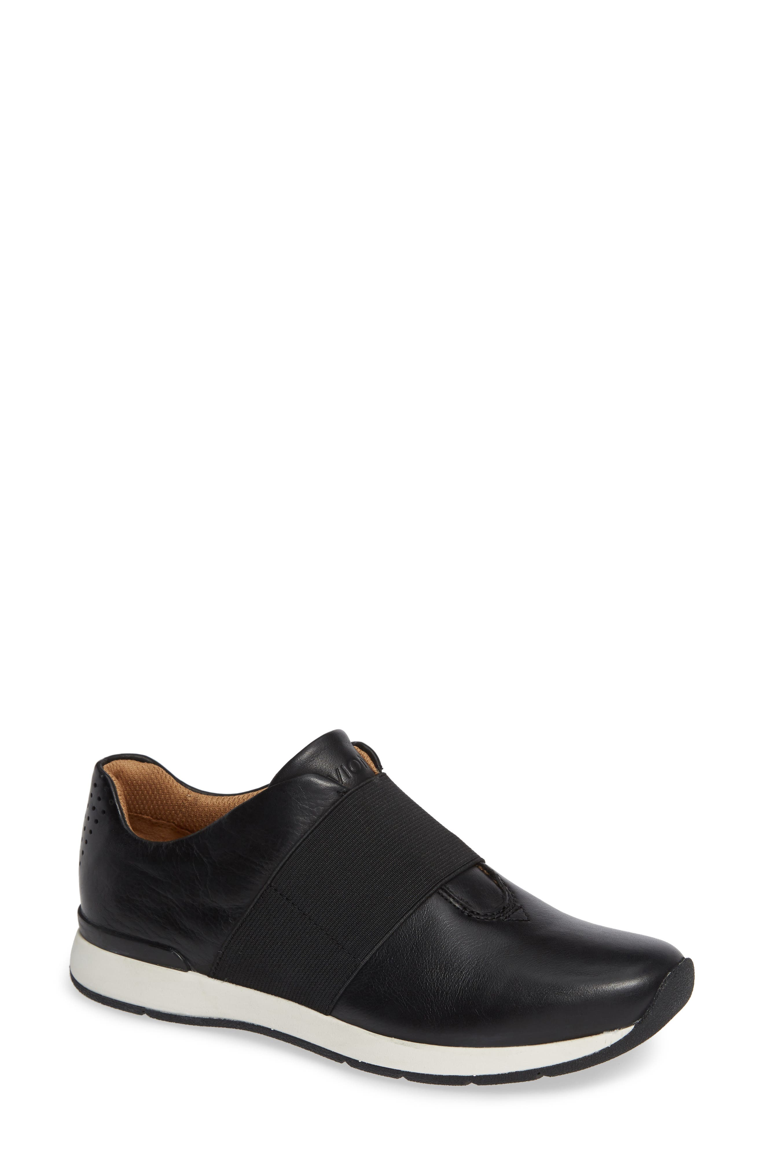 Codie Slip-On Sneaker,                             Main thumbnail 1, color,                             BLACK LEATHER