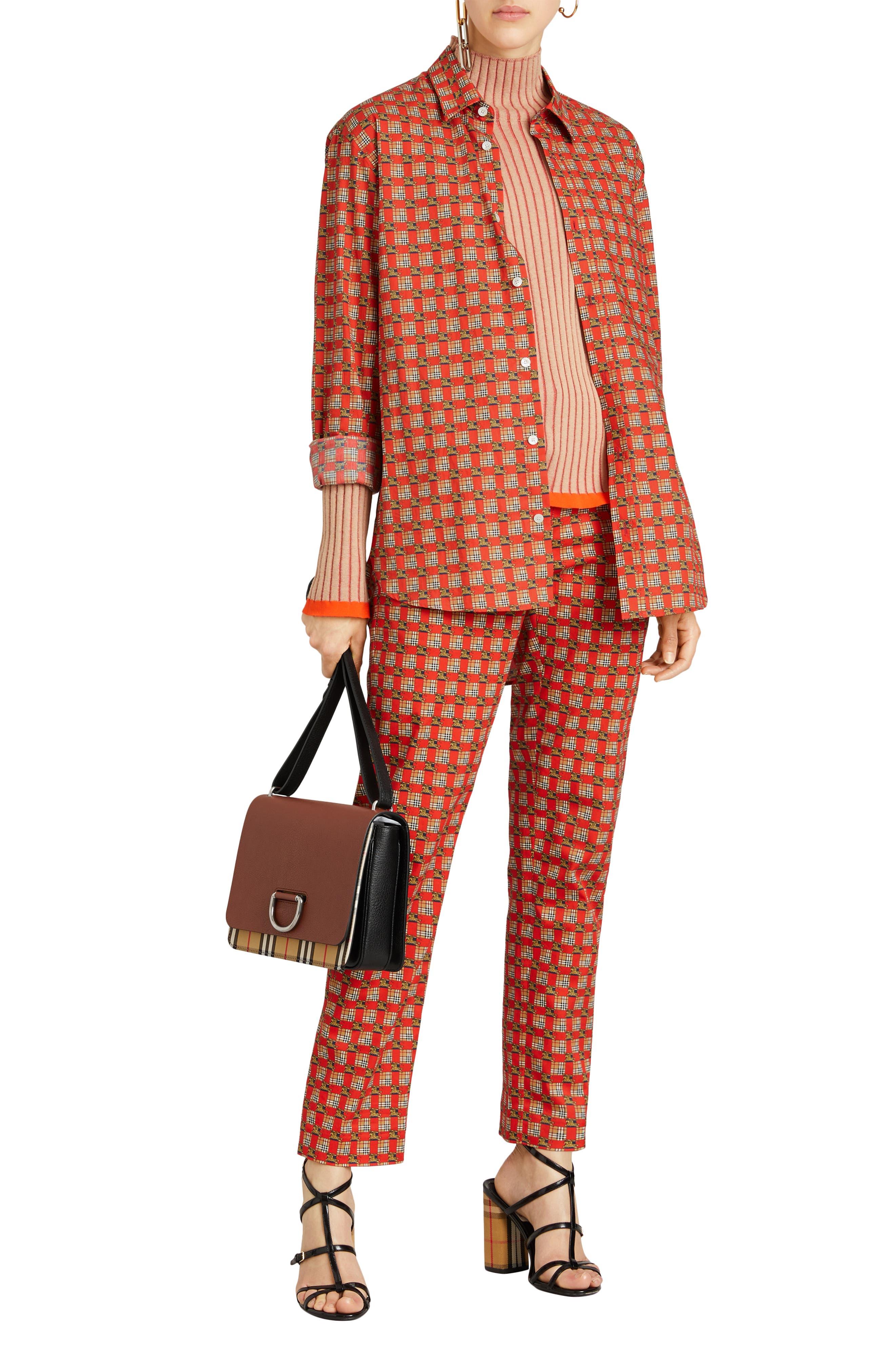Medium D-Ring Vintage Check & Leather Crossbody Bag,                             Alternate thumbnail 2, color,                             TAN/ BLACK