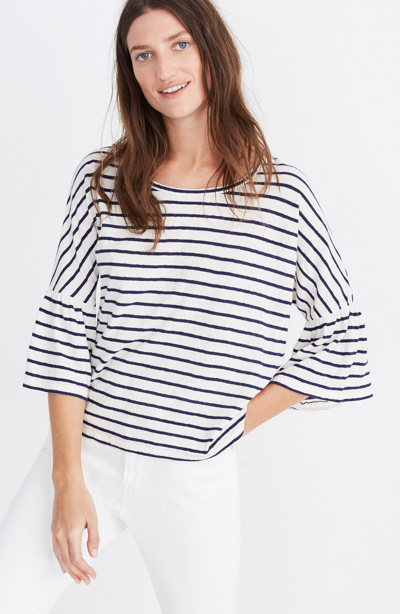Stripe Flare Sleeve Tee,                             Alternate thumbnail 4, color,                             100