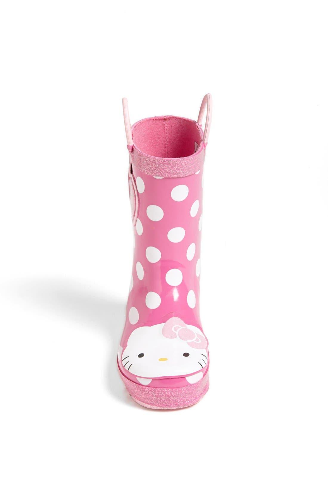 Hello Kitty<sup>®</sup> - Cutie Dot Waterproof Rain Boot,                             Alternate thumbnail 3, color,                             650