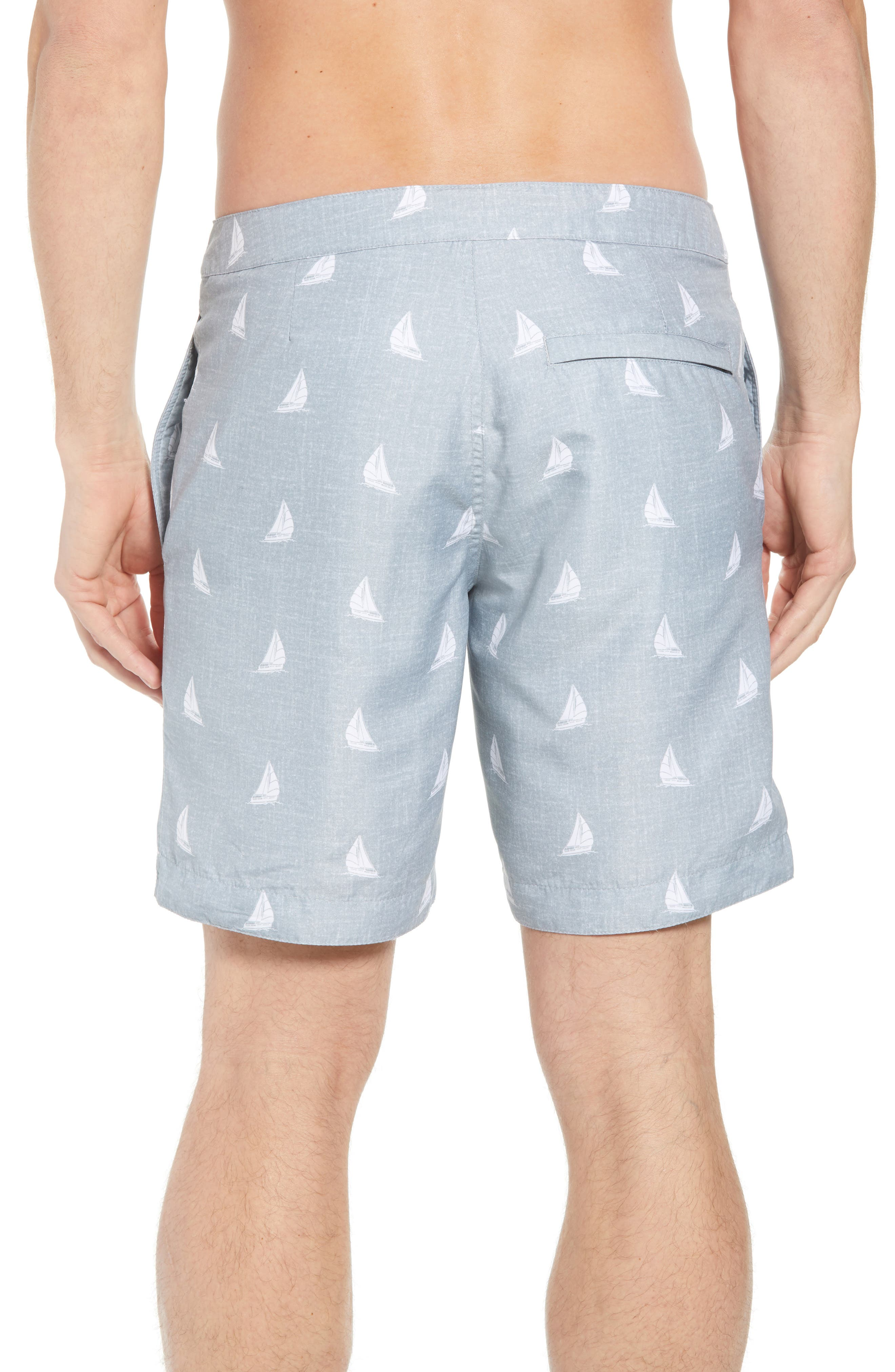 Aruba Slim Fit Swim Trunks,                             Alternate thumbnail 2, color,                             HEATHERED GREY SAILBOATS