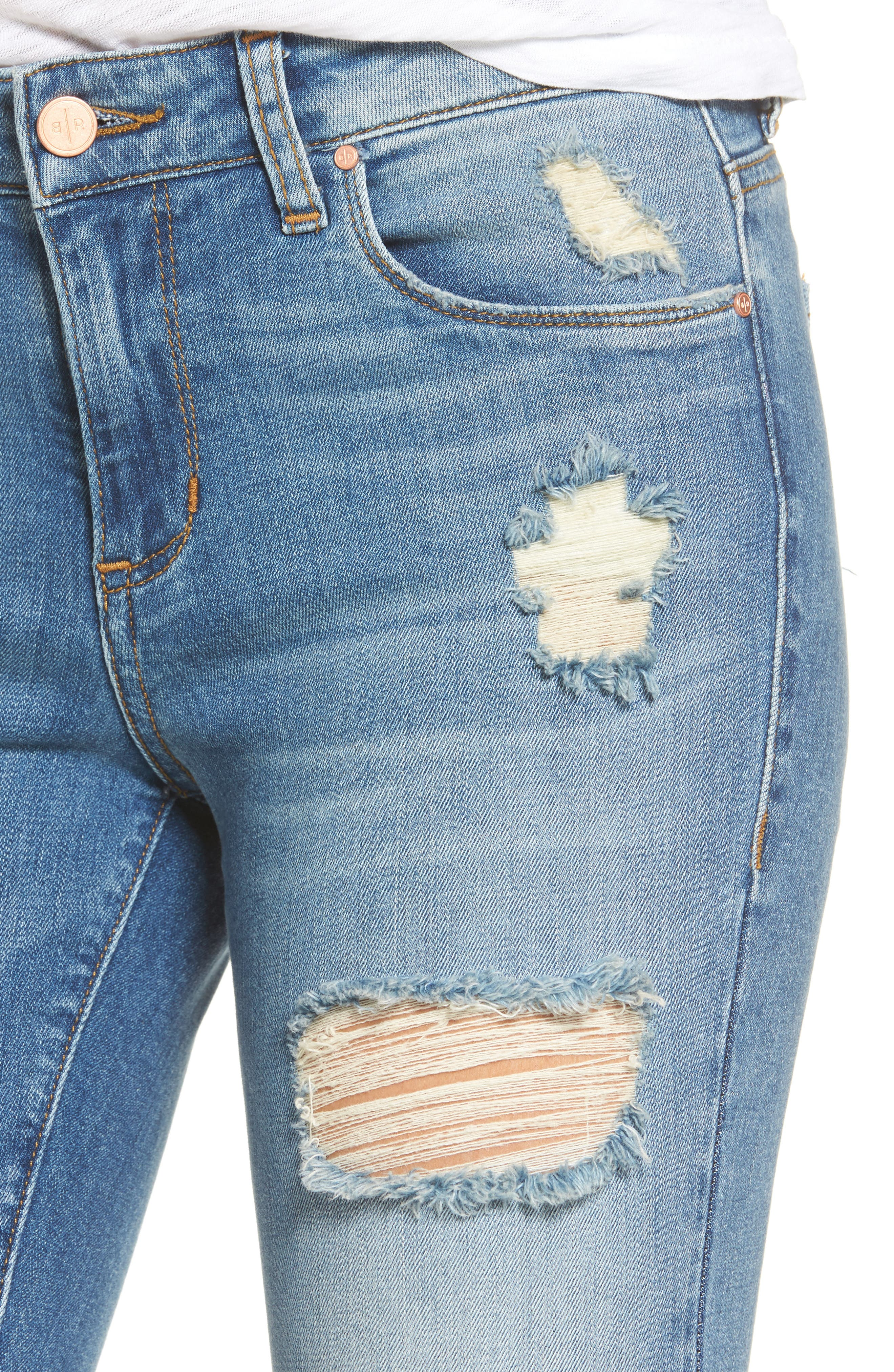 Ripped Crop Skinny Jeans,                             Alternate thumbnail 5, color,                             420
