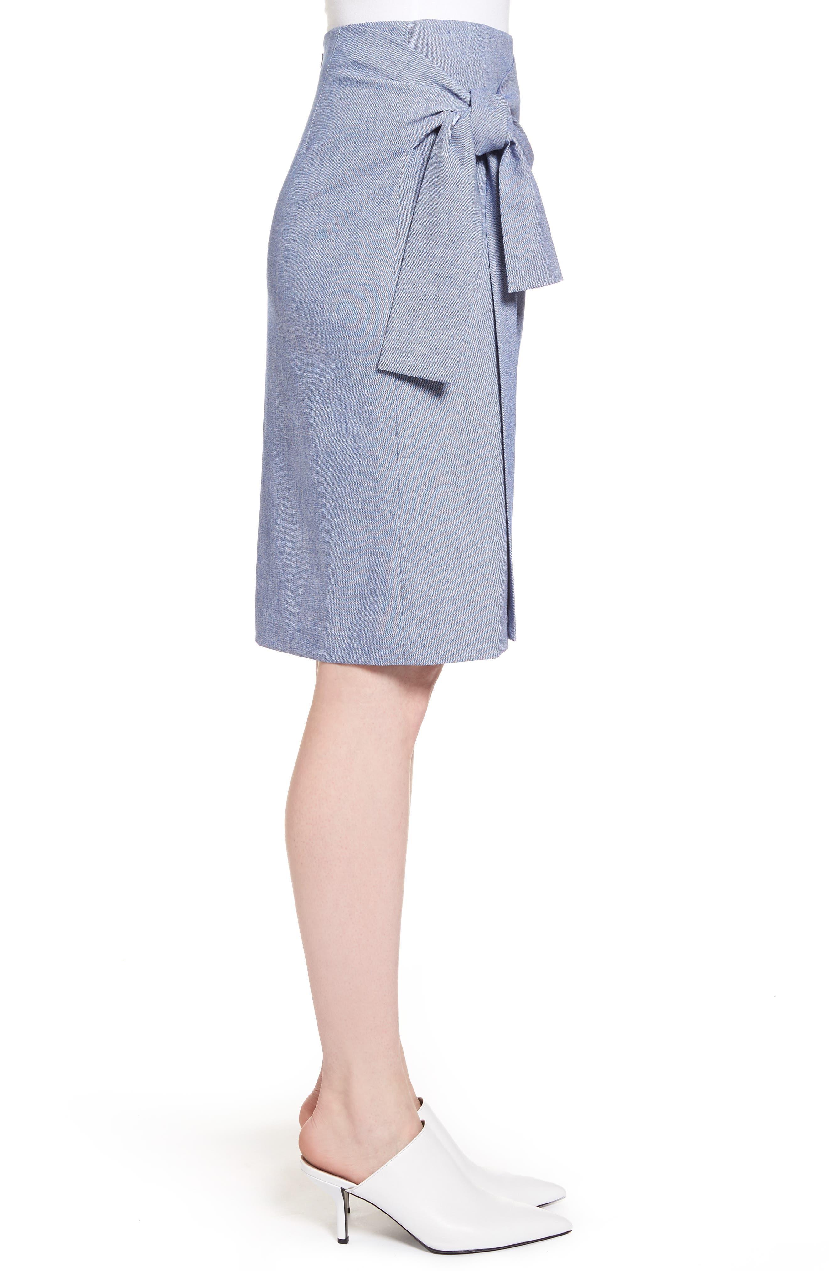 Side Tie Pencil Skirt,                             Alternate thumbnail 3, color,                             400