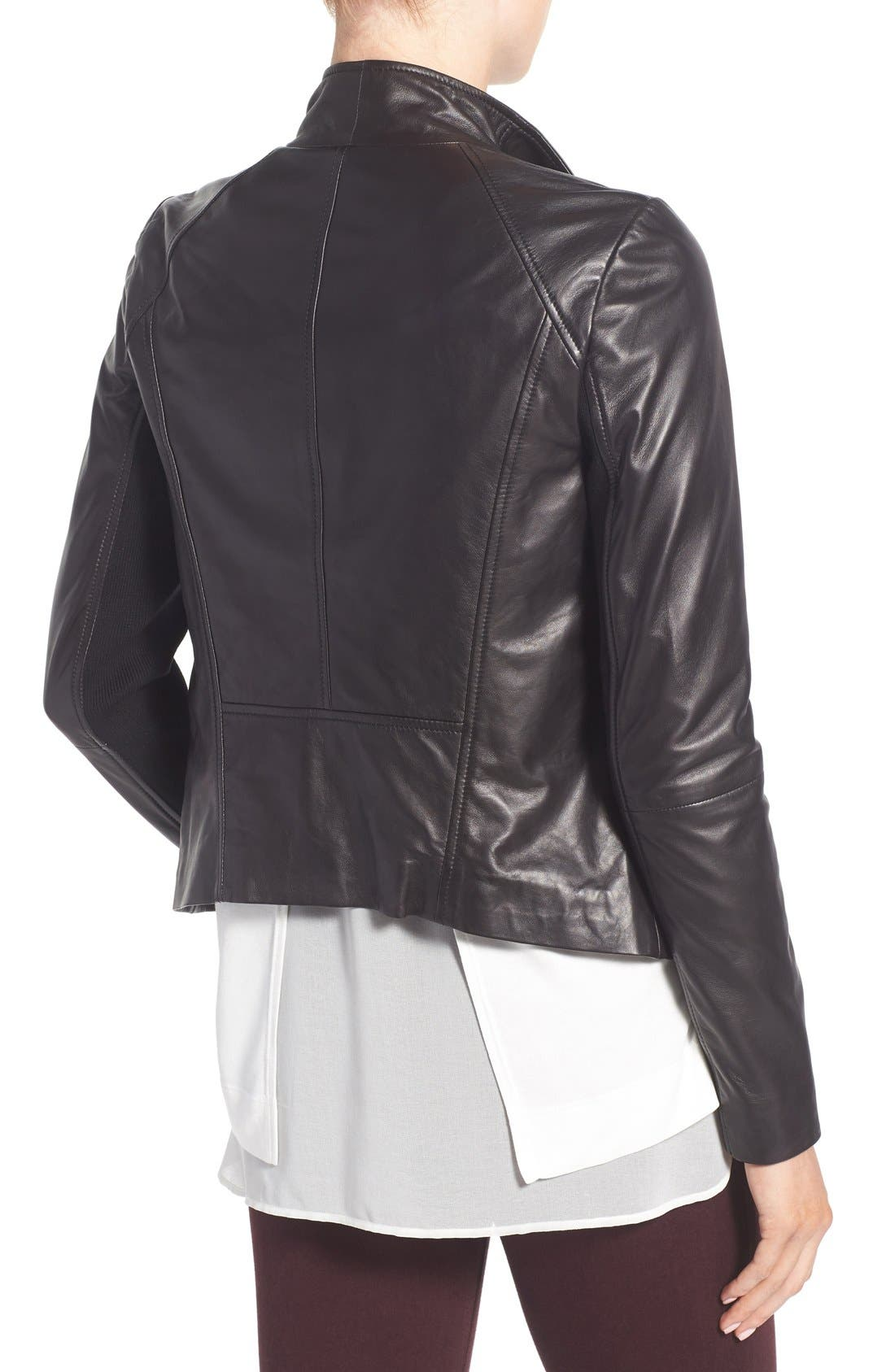 Leather Moto Jacket,                             Alternate thumbnail 11, color,                             BLACK