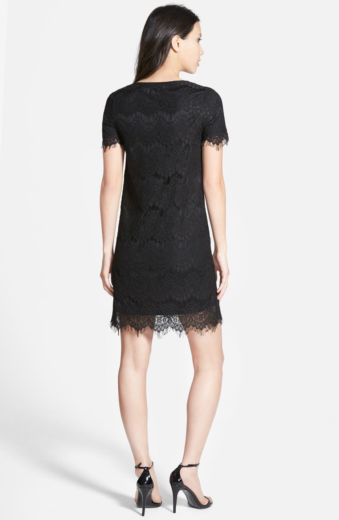 Lace Shift Dress,                             Alternate thumbnail 5, color,                             001