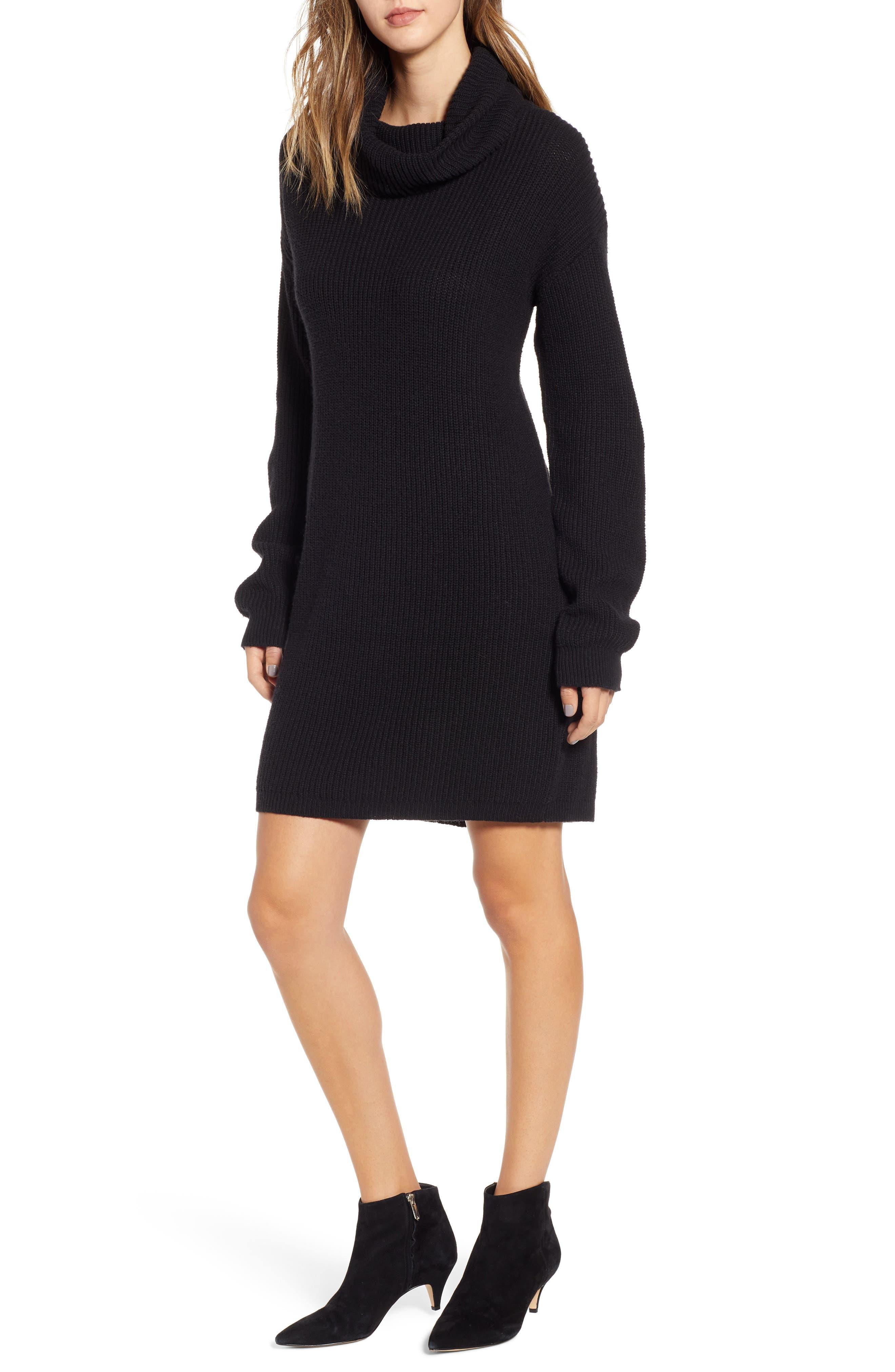 BP. Cowl Neck Sweater Dress, Main, color, 001