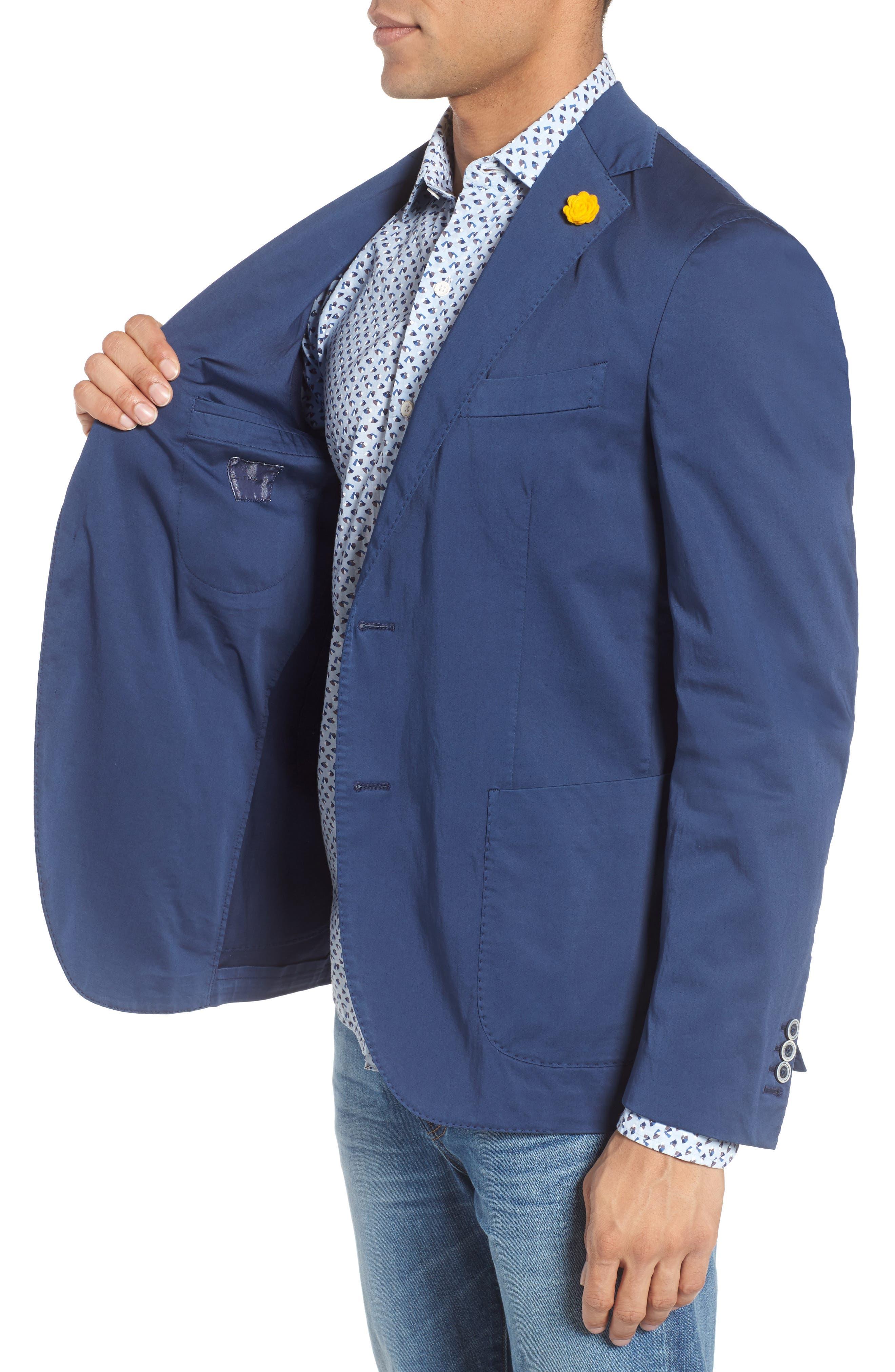 Trim Fit Stretch Cotton Blazer,                             Alternate thumbnail 3, color,                             400