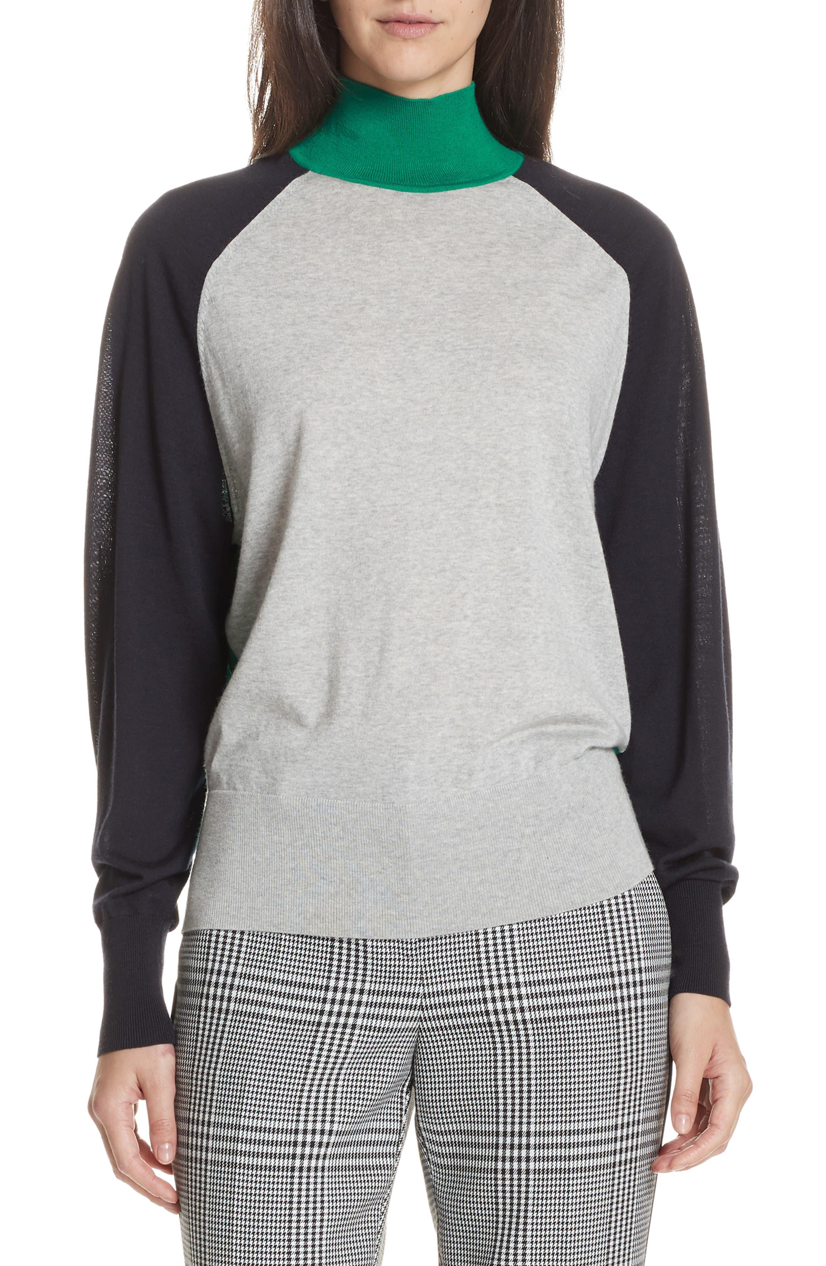 Boss Fanarea Tricolor Wool Pullover, Grey