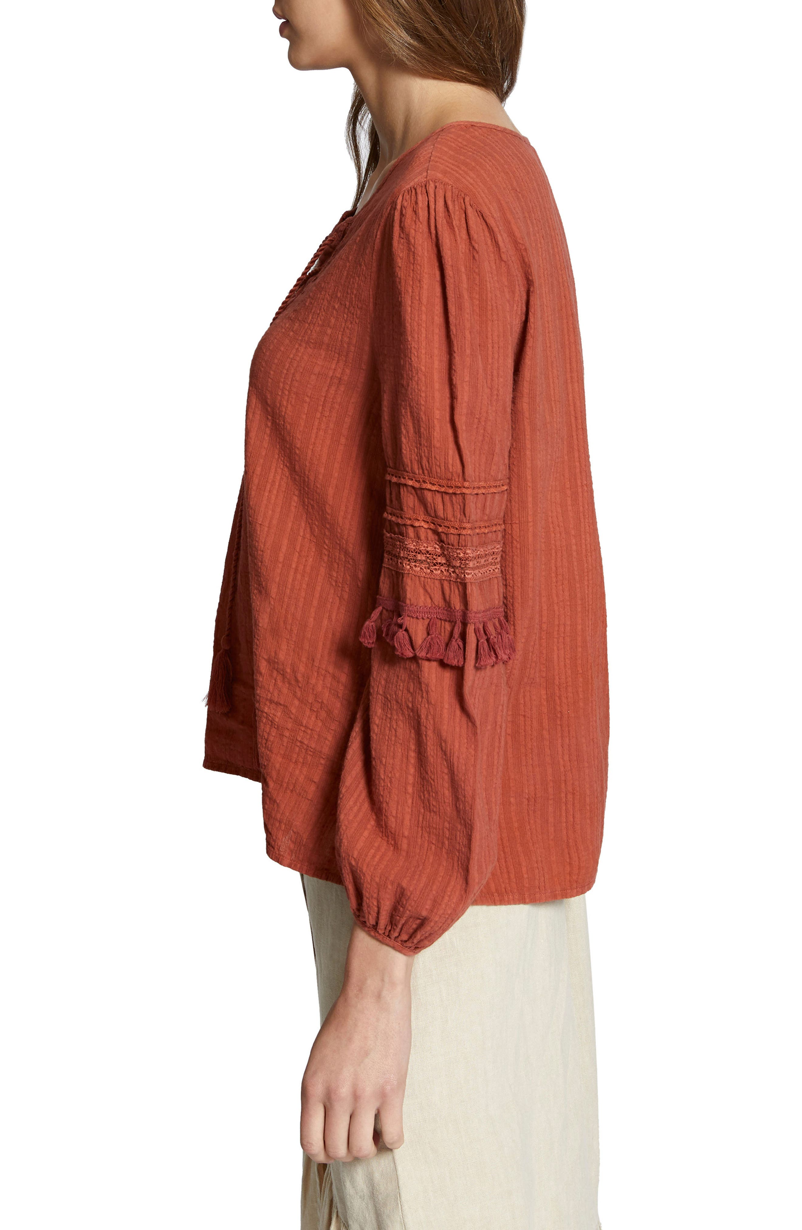 Red Rock Peasant Blouse,                             Alternate thumbnail 3, color,