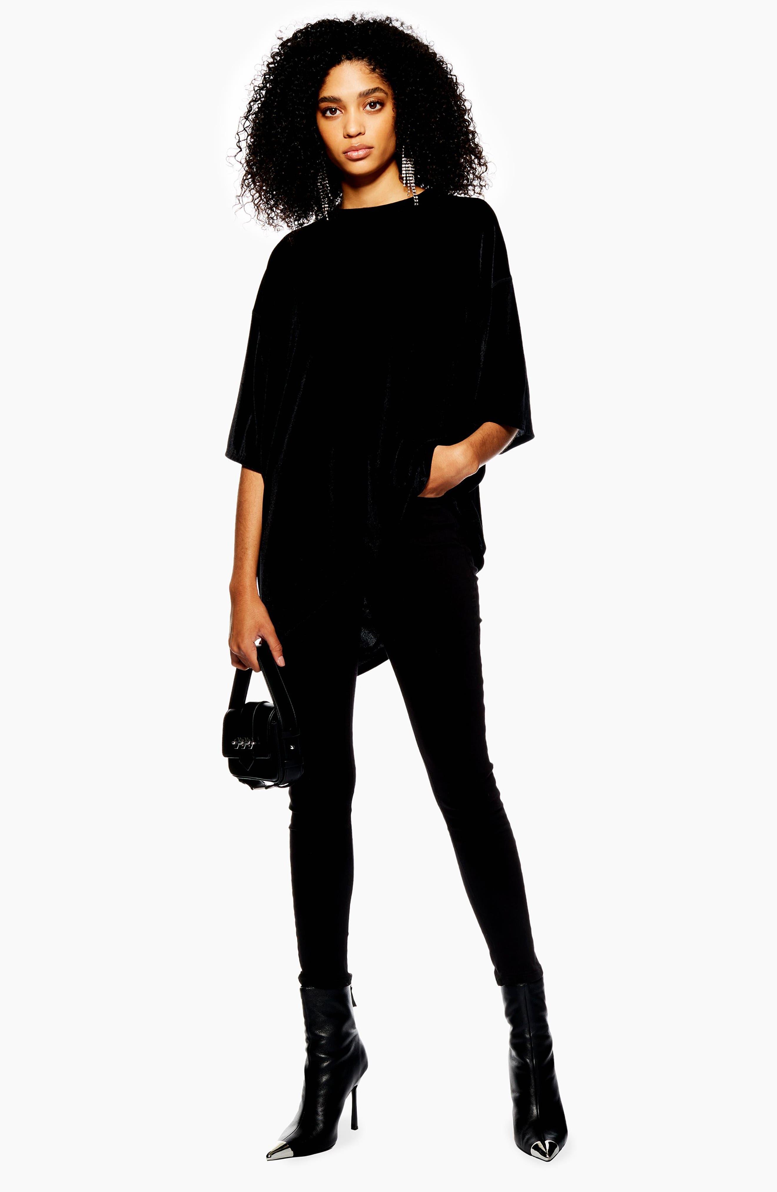 Velvet Tunic Shirt,                             Alternate thumbnail 4, color,                             BLACK