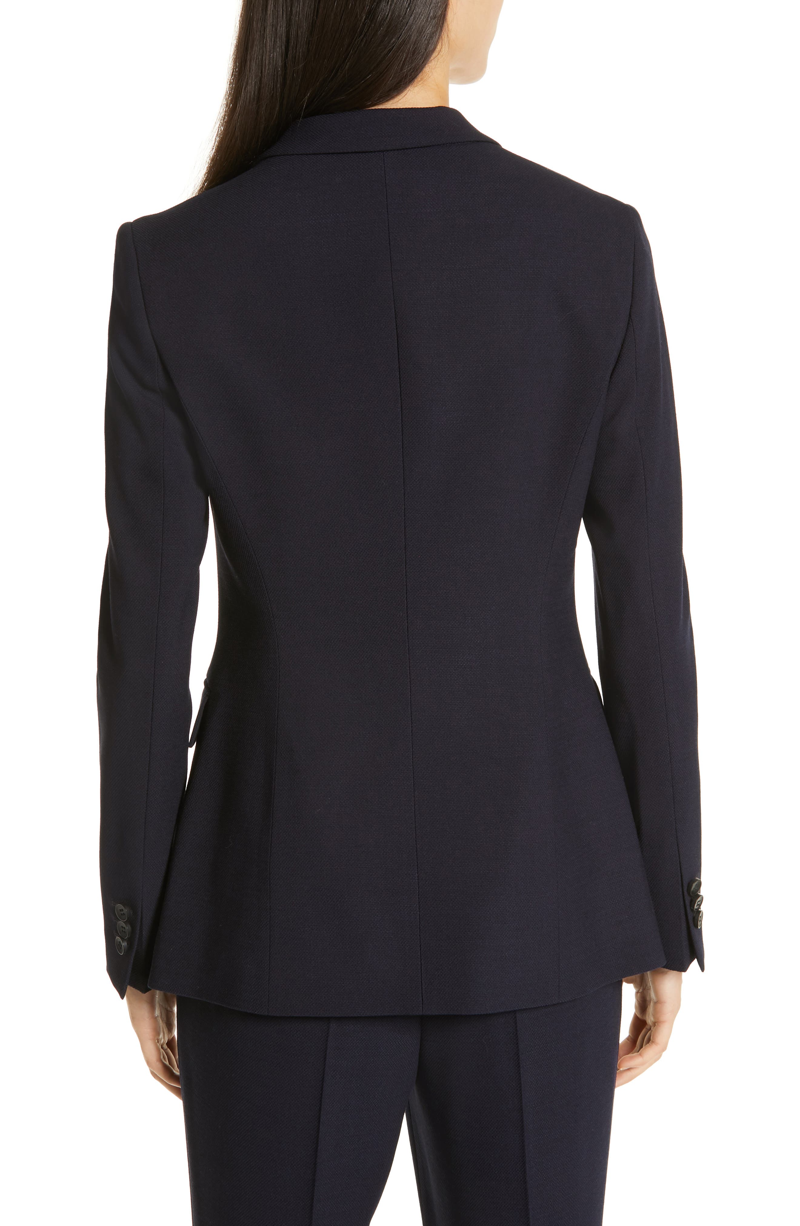 Jusanna Stretch Wool Suit Jacket,                             Alternate thumbnail 2, color,                             NAVY