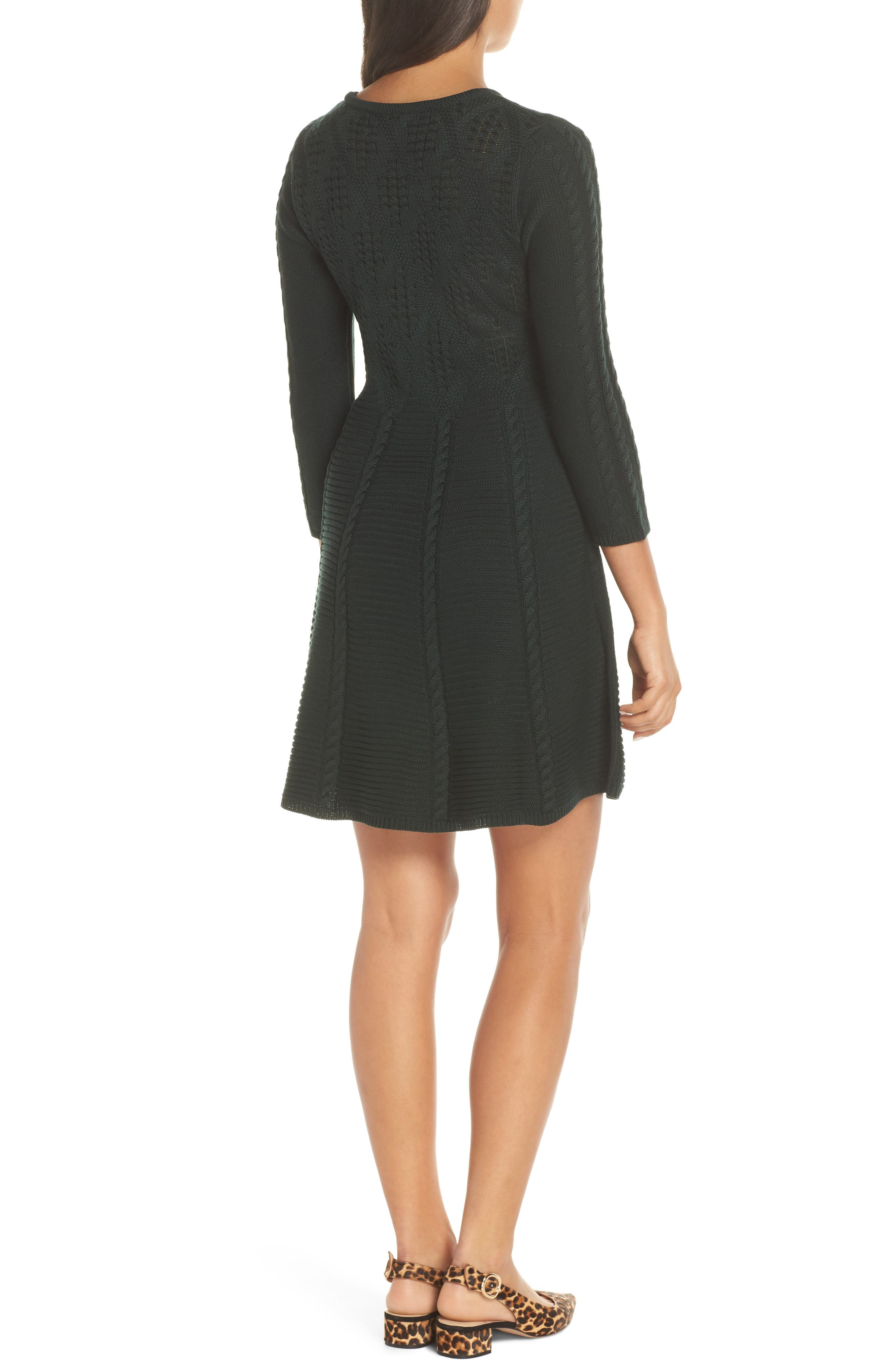 Cable Fit & Flare Sweater Dress,                             Alternate thumbnail 2, color,                             GREEN