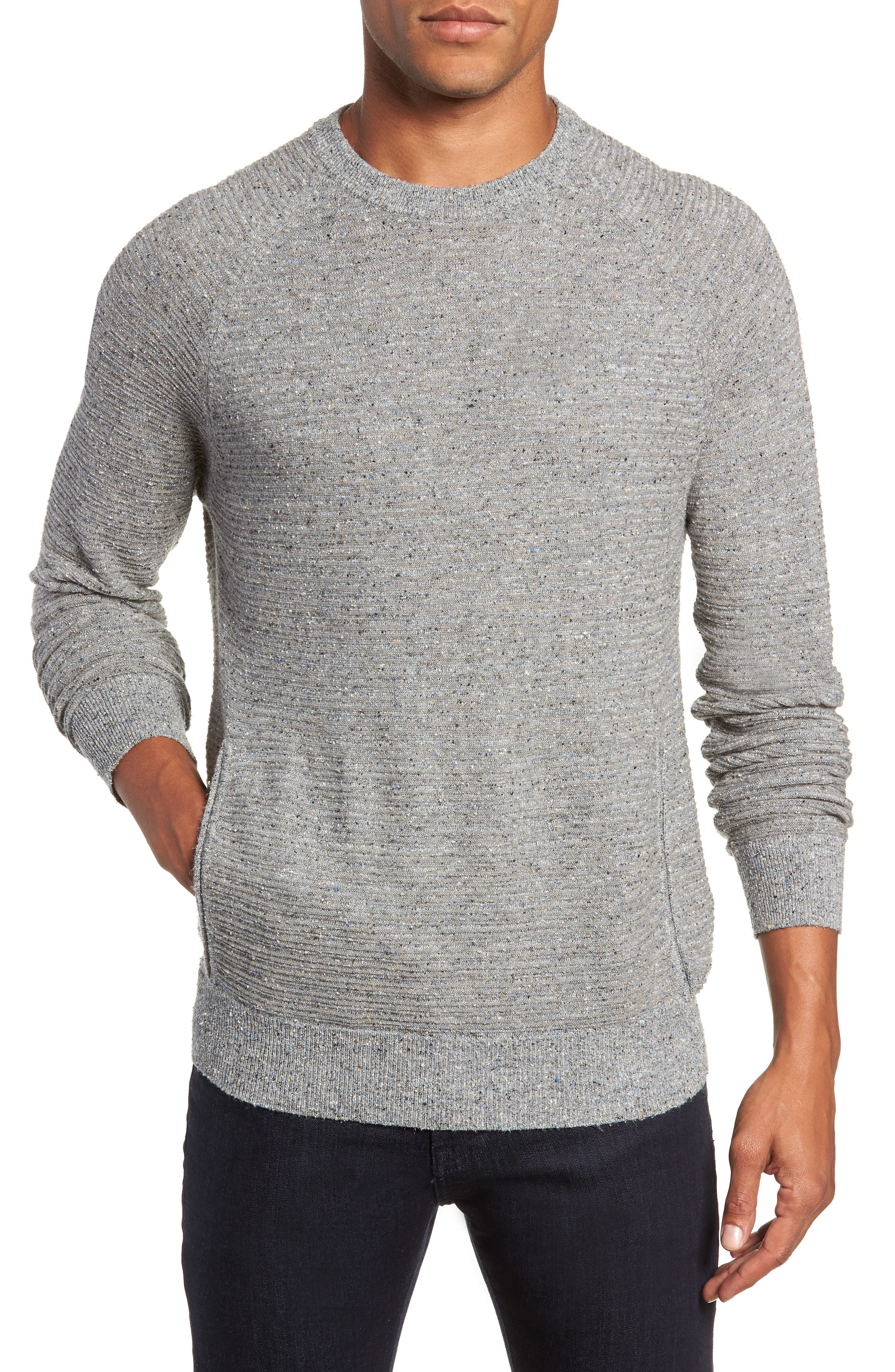 Speckle Stripe Sweater,                         Main,                         color, GREY MIX