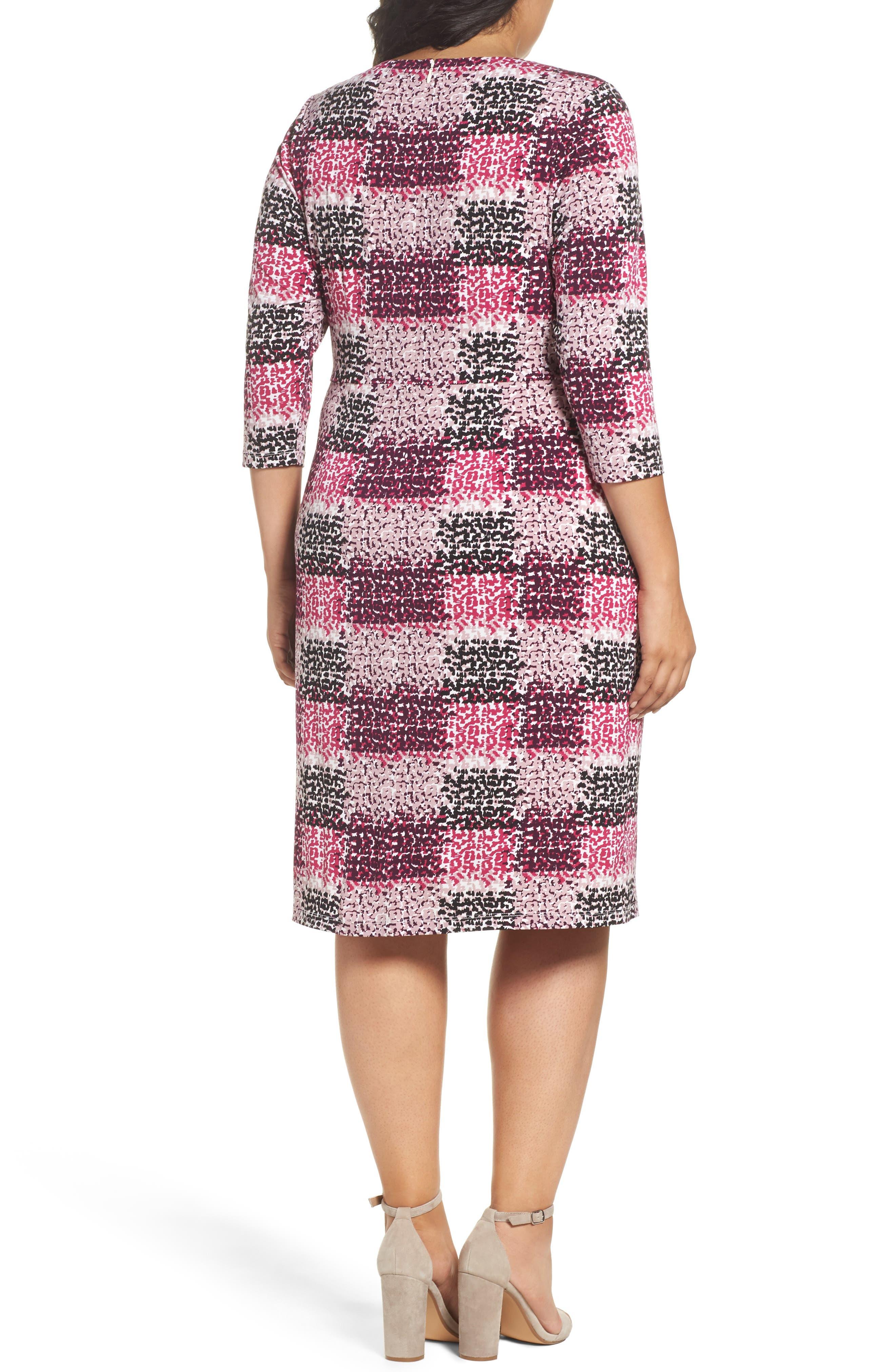 Print Jersey Side Tuck Sheath Dress,                             Alternate thumbnail 2, color,                             465