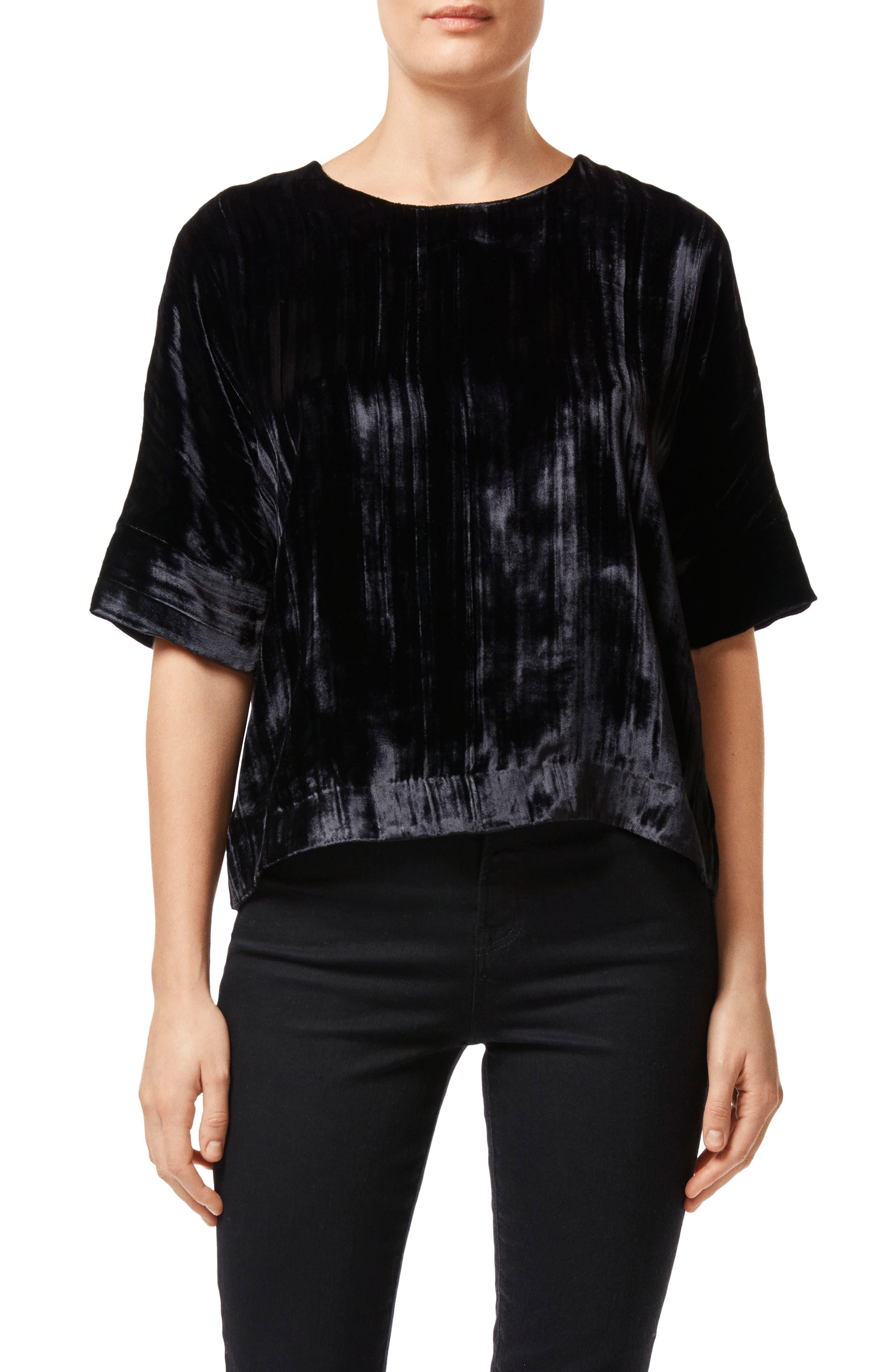 Daisy Velvet Top,                         Main,                         color, BLACK
