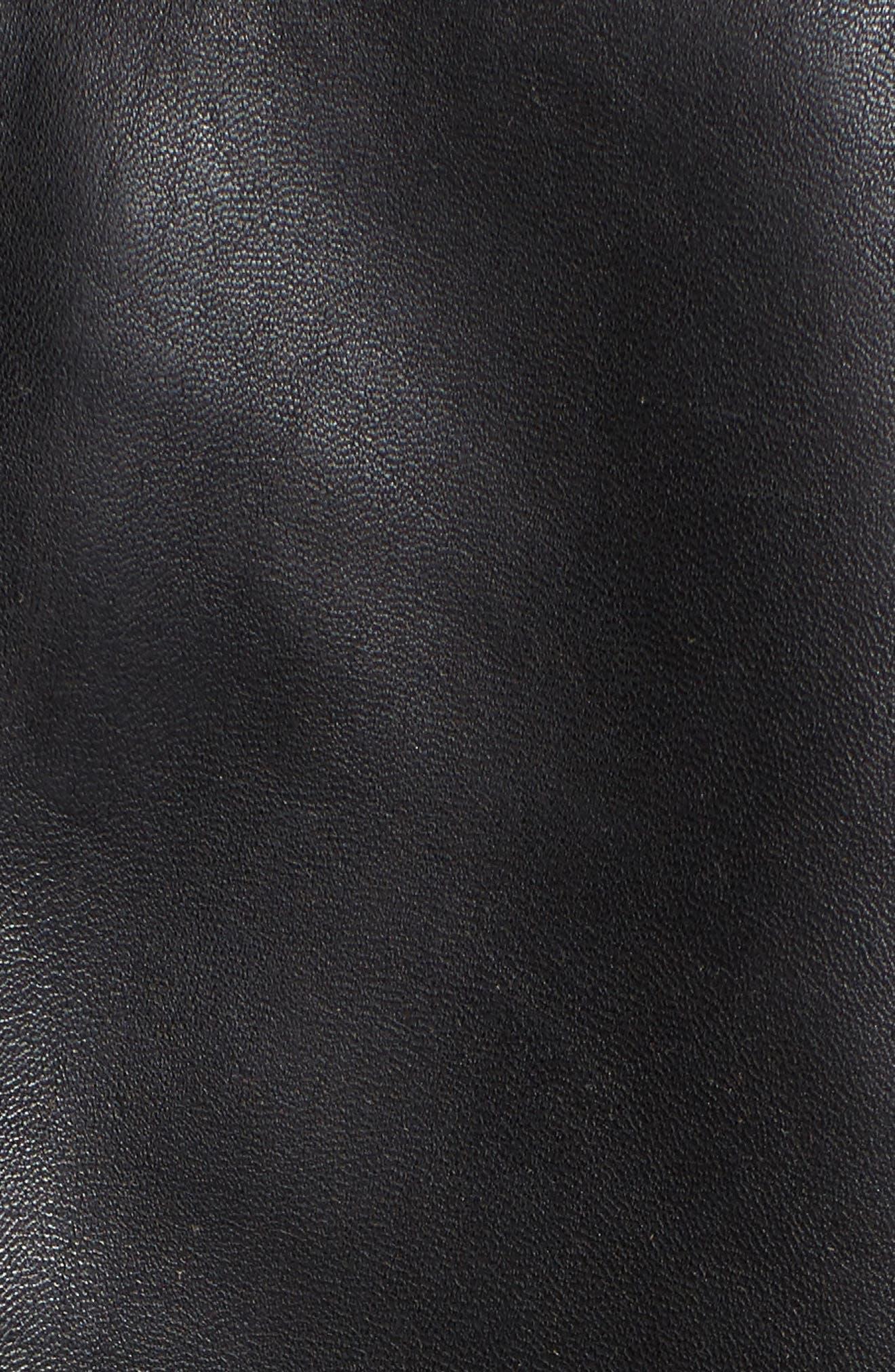 Regular Fit Leather Jacket,                             Alternate thumbnail 6, color,                             BLACK