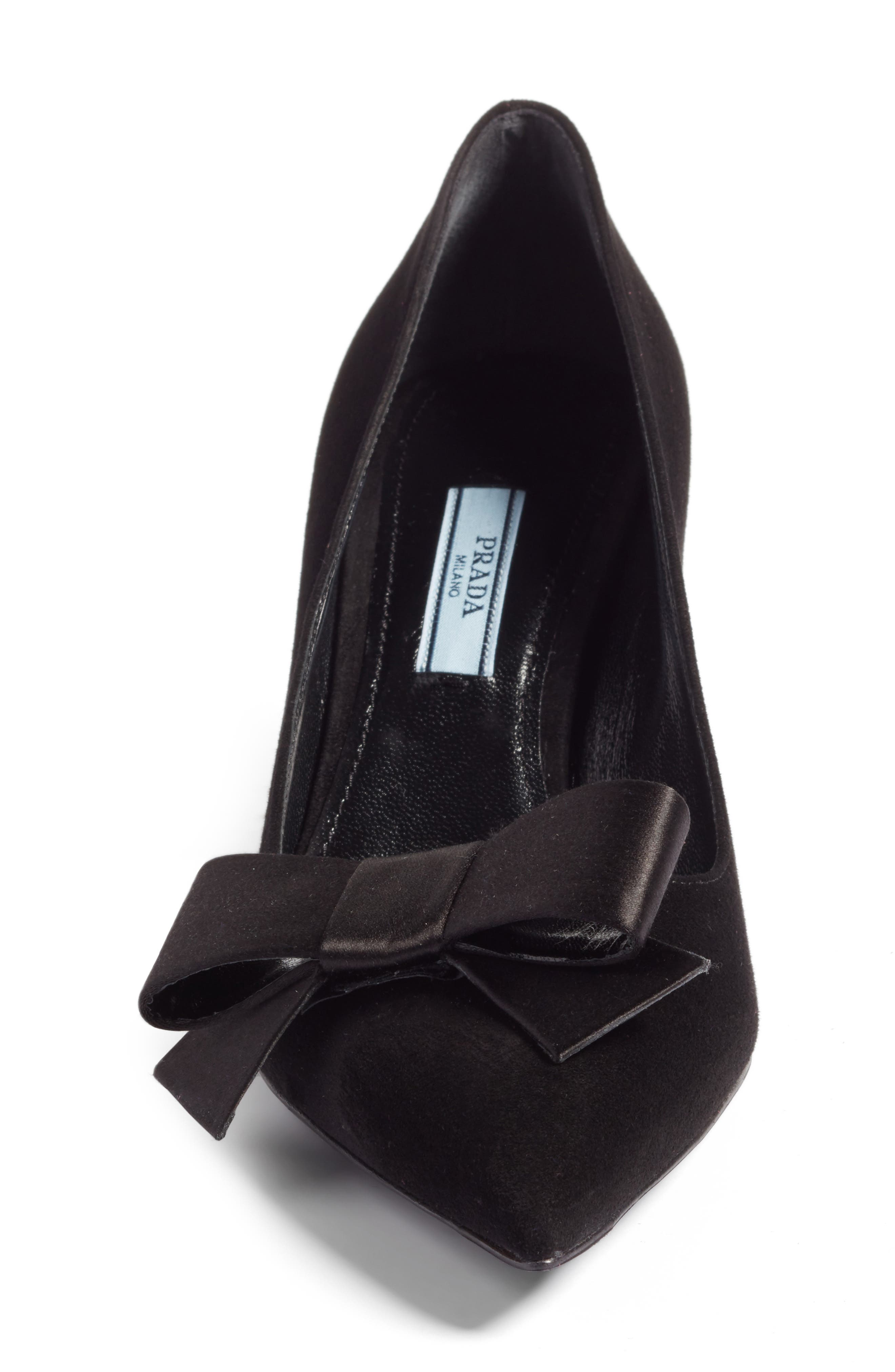 Bow Pointy Toe Pump,                             Alternate thumbnail 4, color,                             001