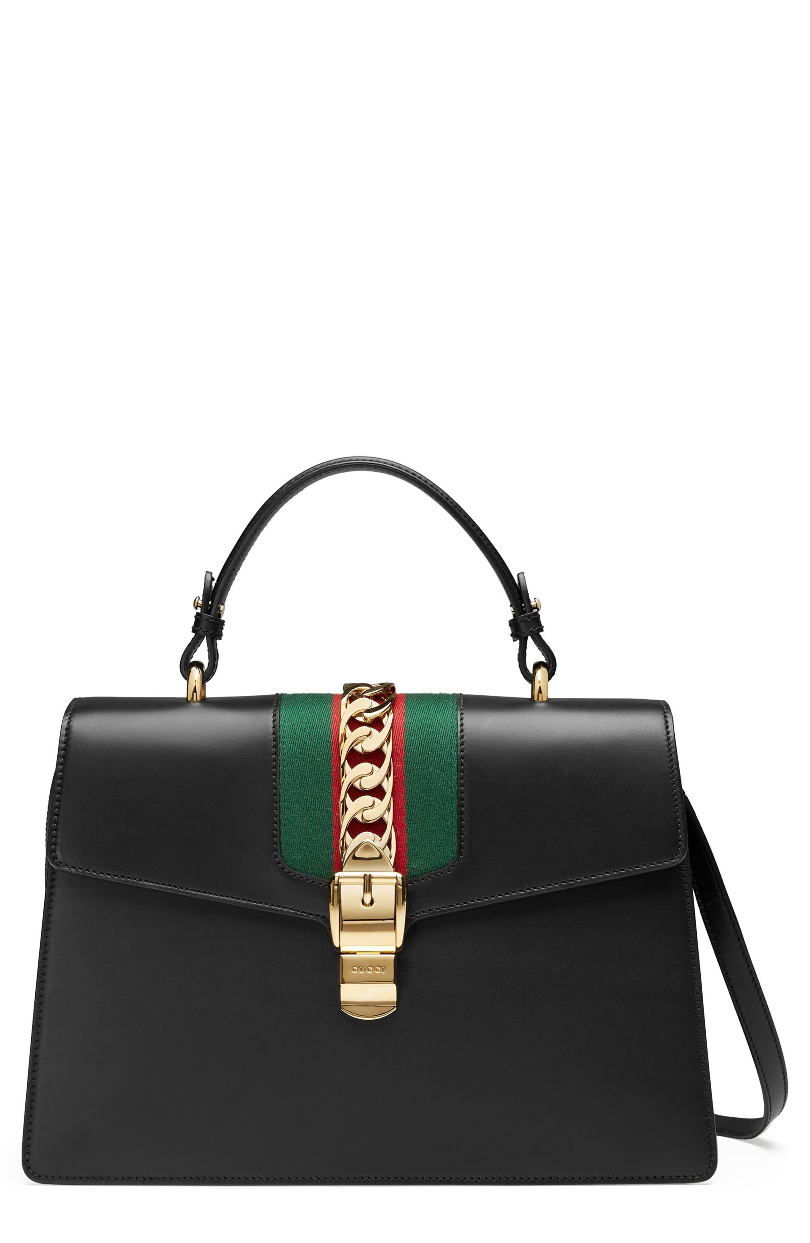 Sylvie Top Handle Leather Shoulder Bag,                         Main,                         color, NERO/VRV