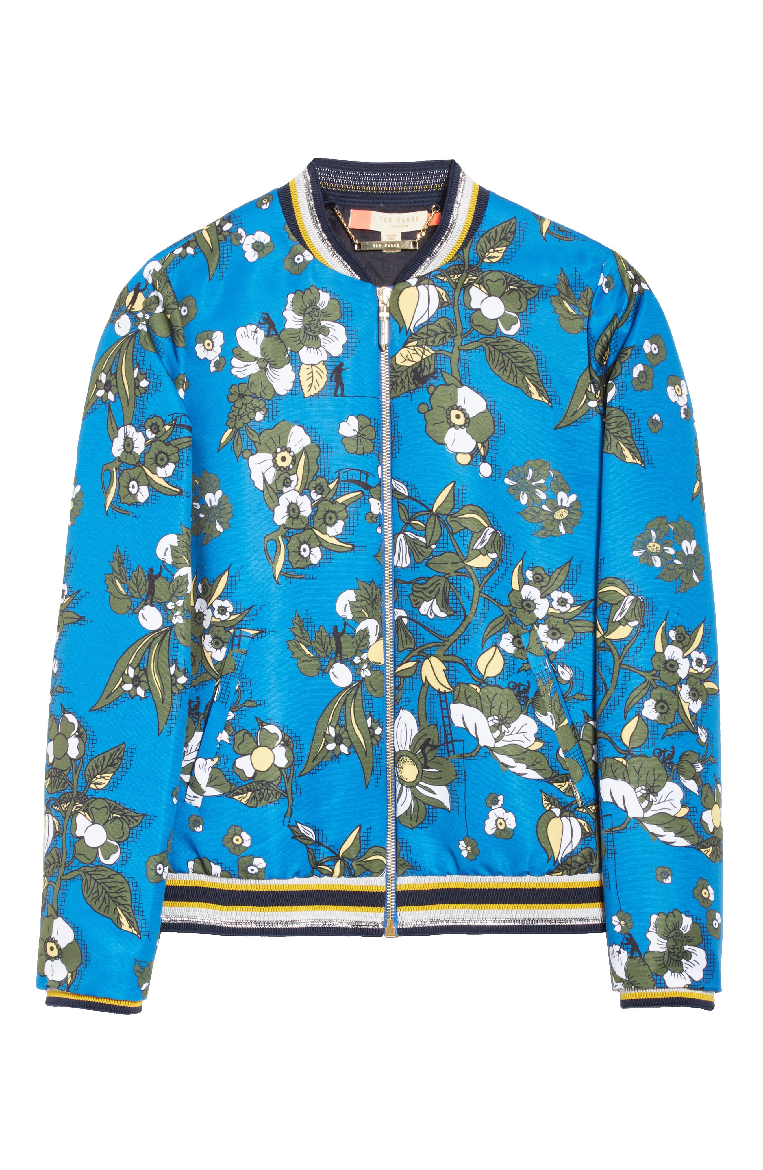 Cheylan Floral Bomber Jacket,                             Alternate thumbnail 5, color,