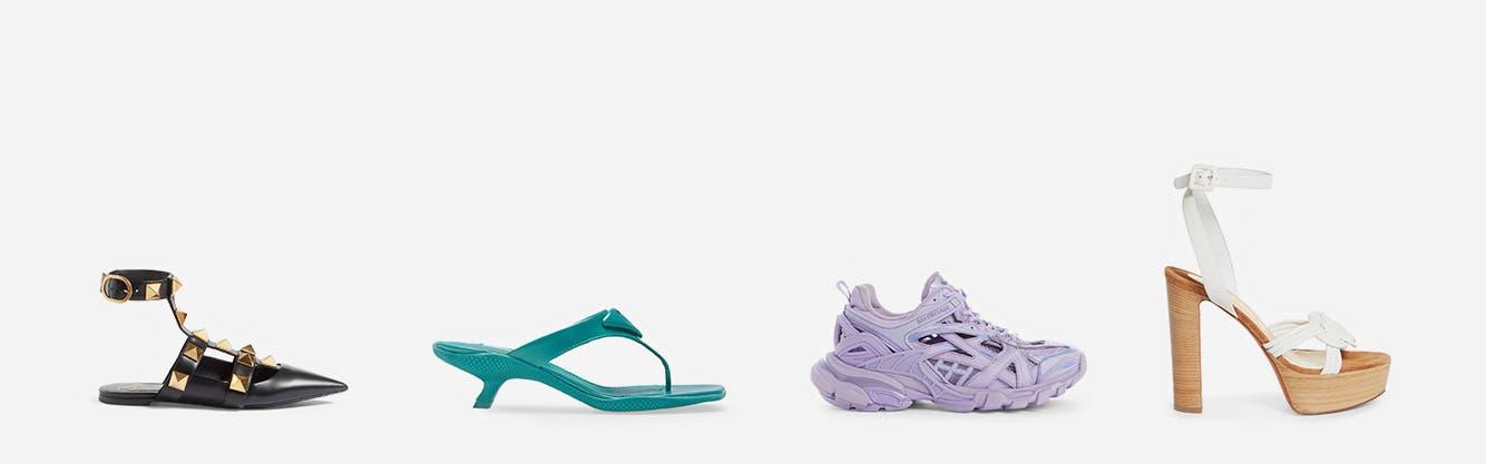 Designer shoes from Prada, Valentino, Balenciaga and Christian Louboutin.