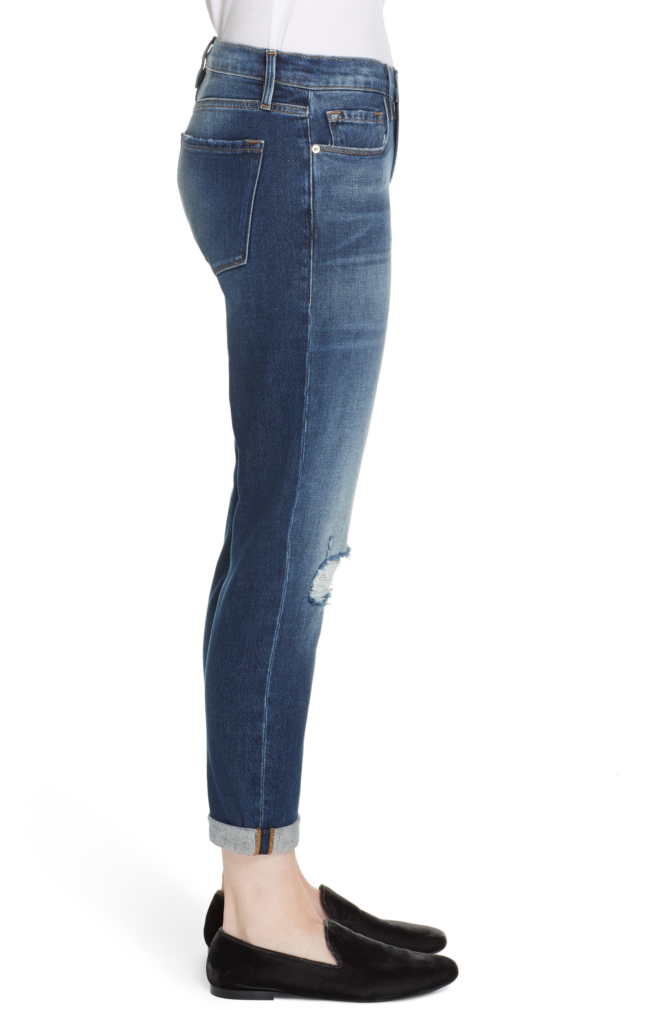 Le Garcon High Waist Ankle Slim Boyfriend Jeans,                             Alternate thumbnail 3, color,                             420