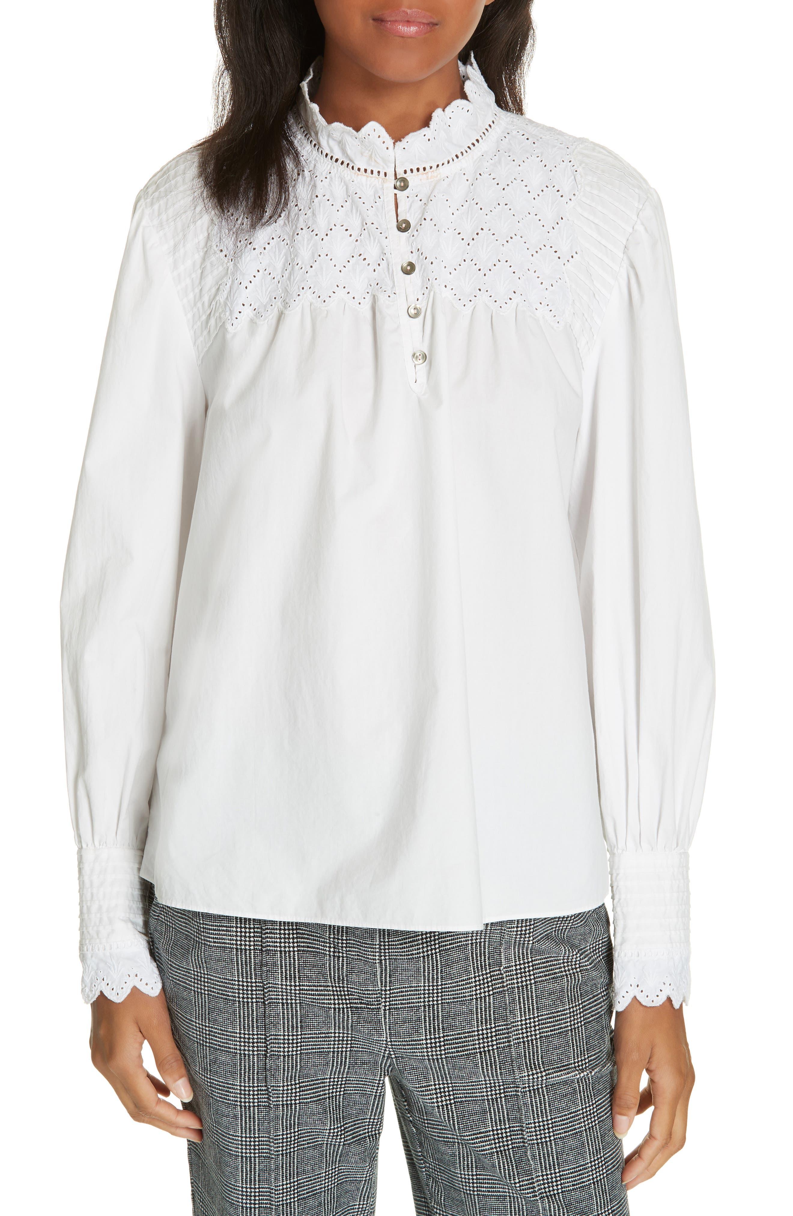 LA VIE REBECCA TAYLOR Embroidered Poplin Shirt in Milk
