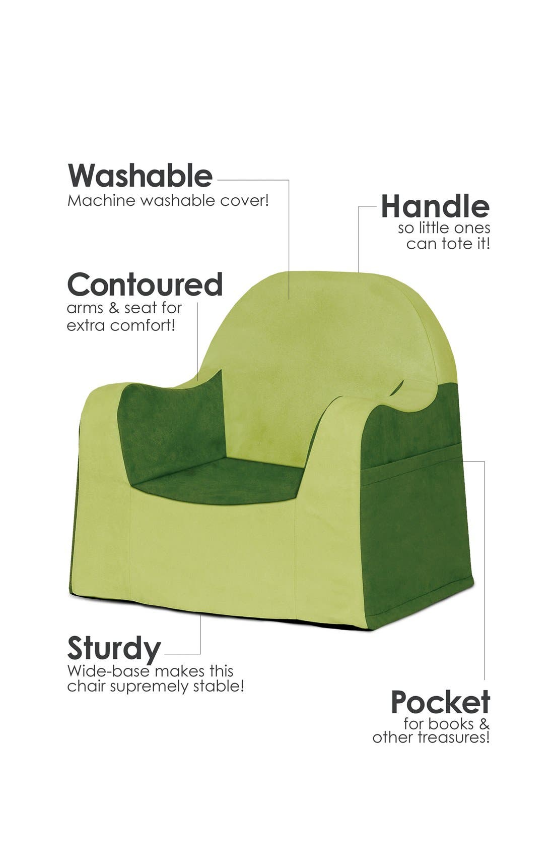 'Personalized Little Reader' Chair,                             Alternate thumbnail 3, color,                             GREEN