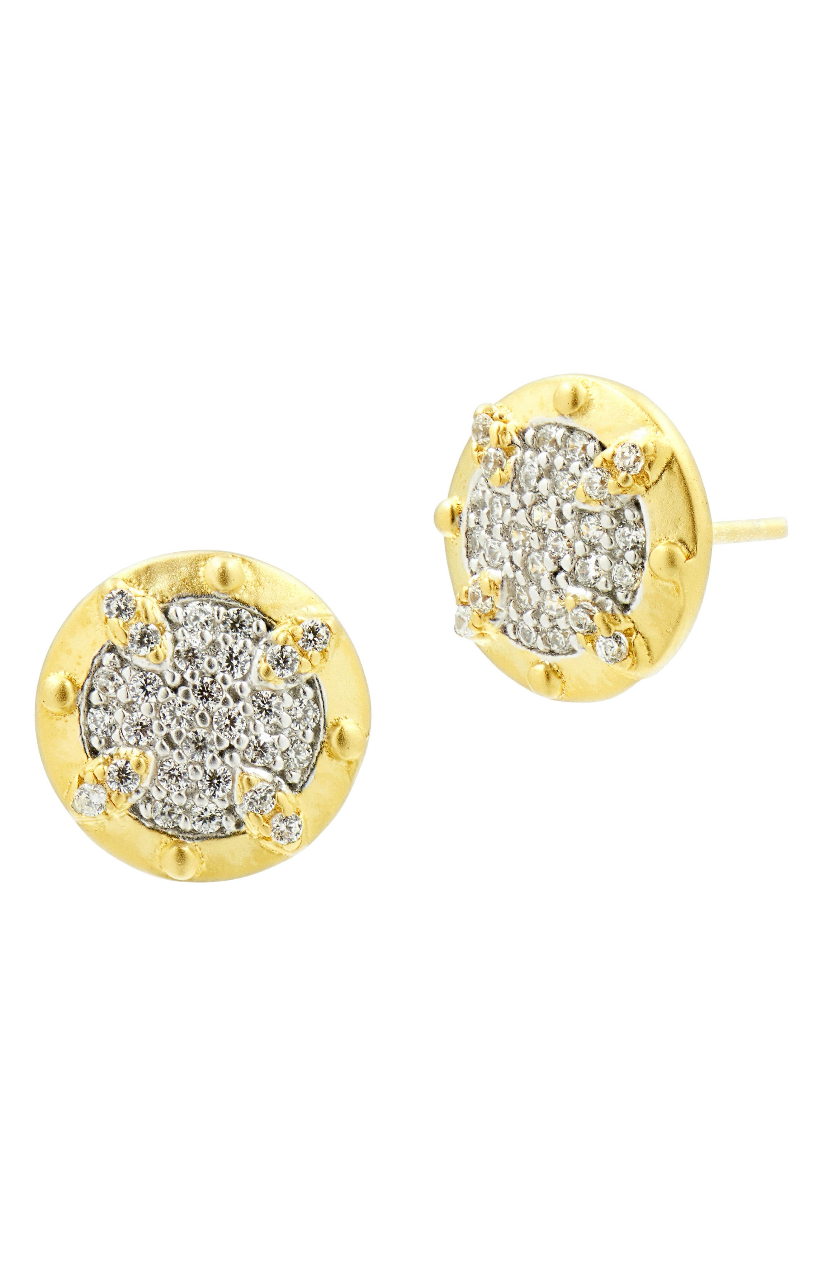 Visionary Fusion Pavé Stud Earrings,                             Main thumbnail 1, color,                             GOLD/ SILVER
