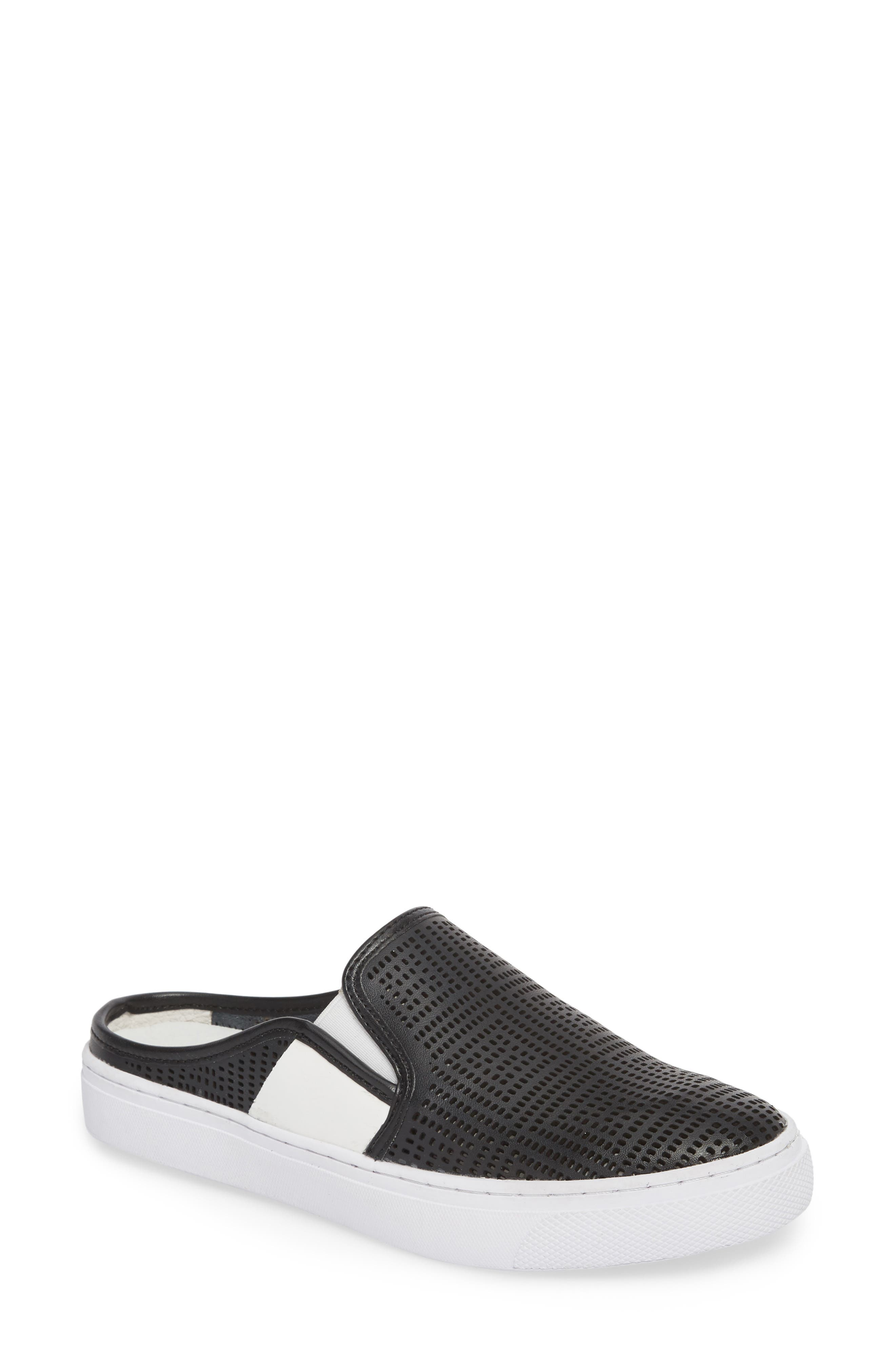 Perforated Backless Sneaker, Main, color, BLACK LEATHER