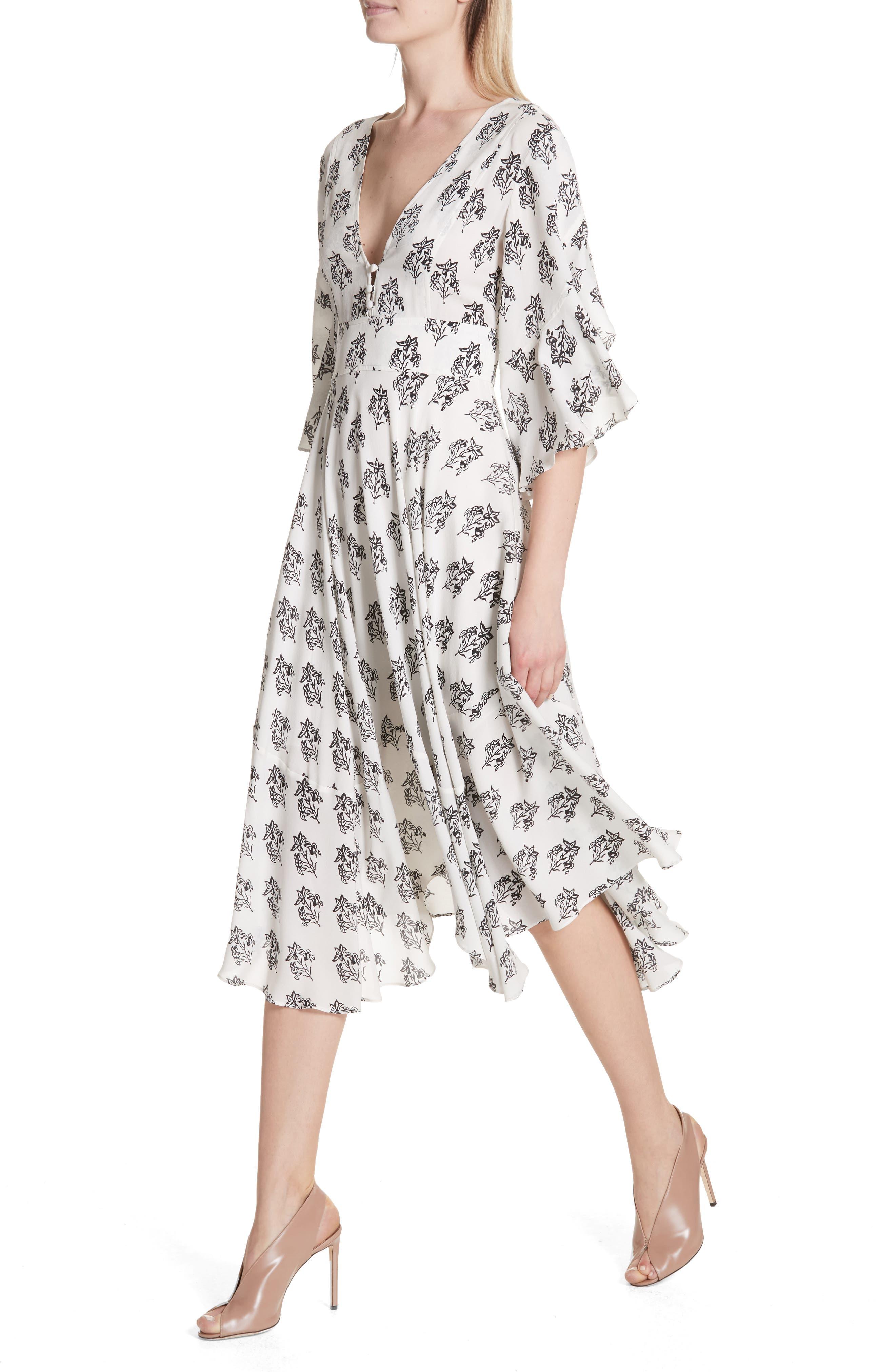 McKenna Print Asymmetrical Silk Dress,                             Alternate thumbnail 4, color,                             110